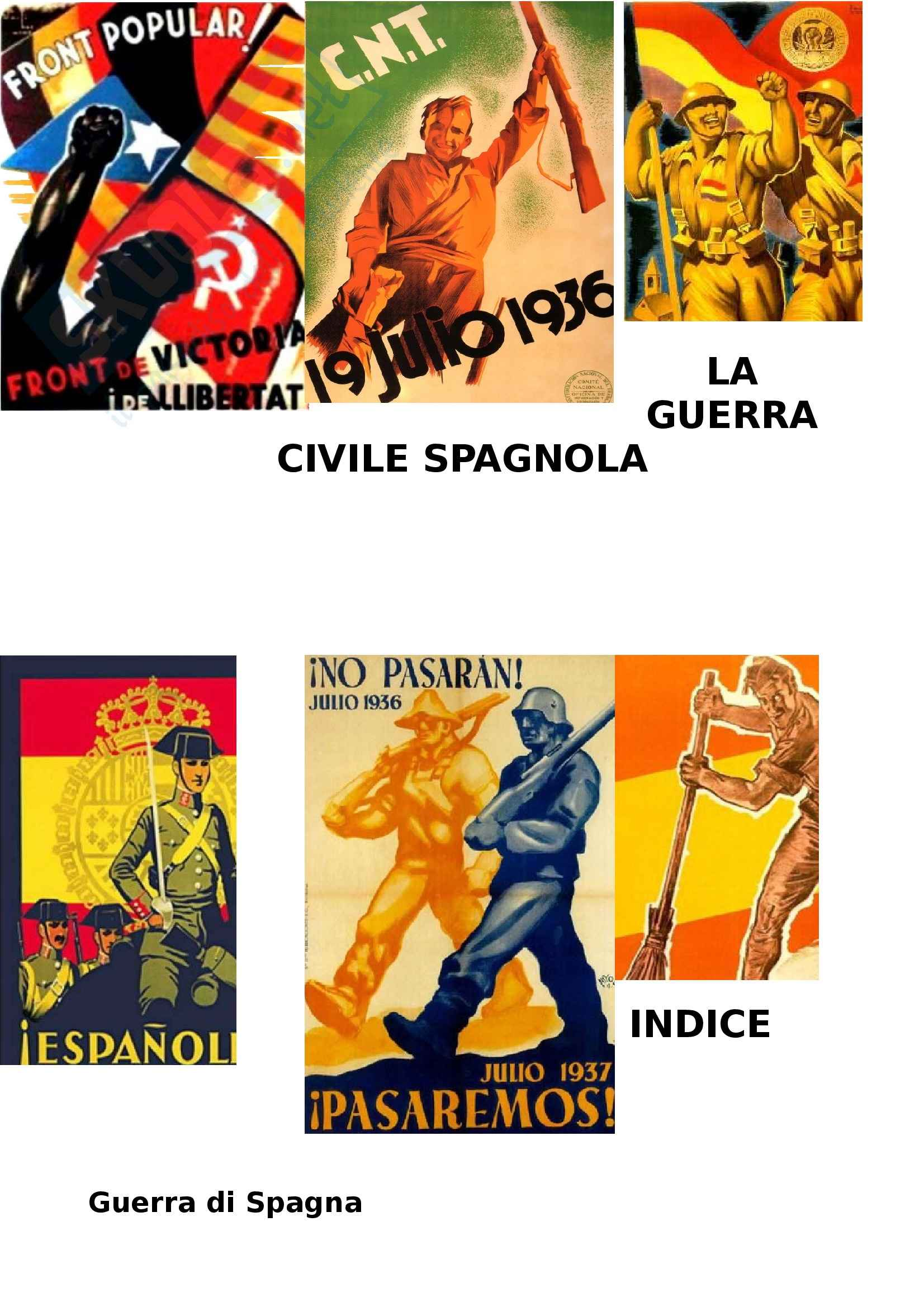 Guerra Civile Spagnola 1936-1939 Appunti, sunti, curiosità, prof. Saresella