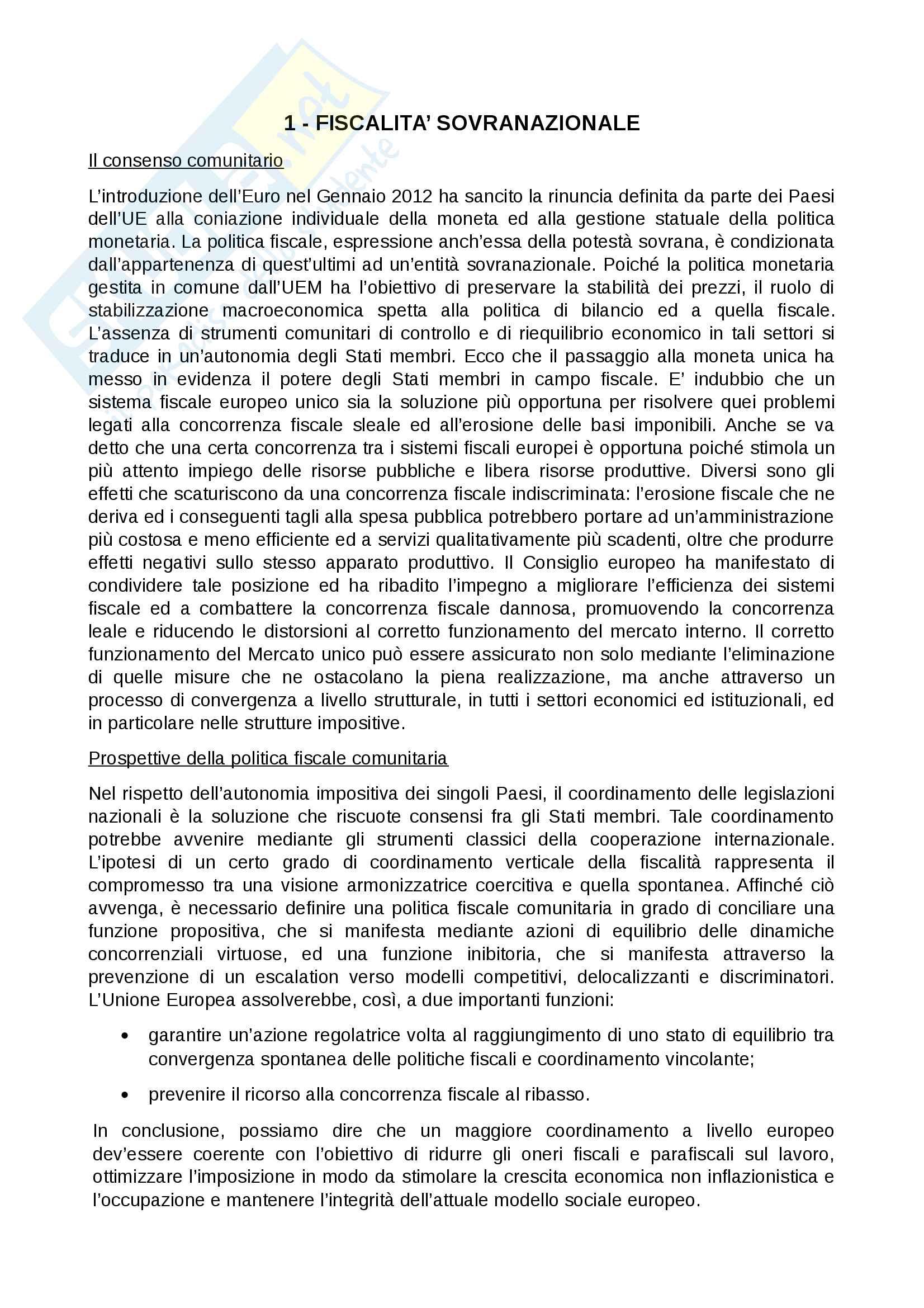 Riassunto esame Politiche fiscali dell'UE, prof. Valente, libro consigliato Fiscalità sovranazionale di Piergiorgio Valente