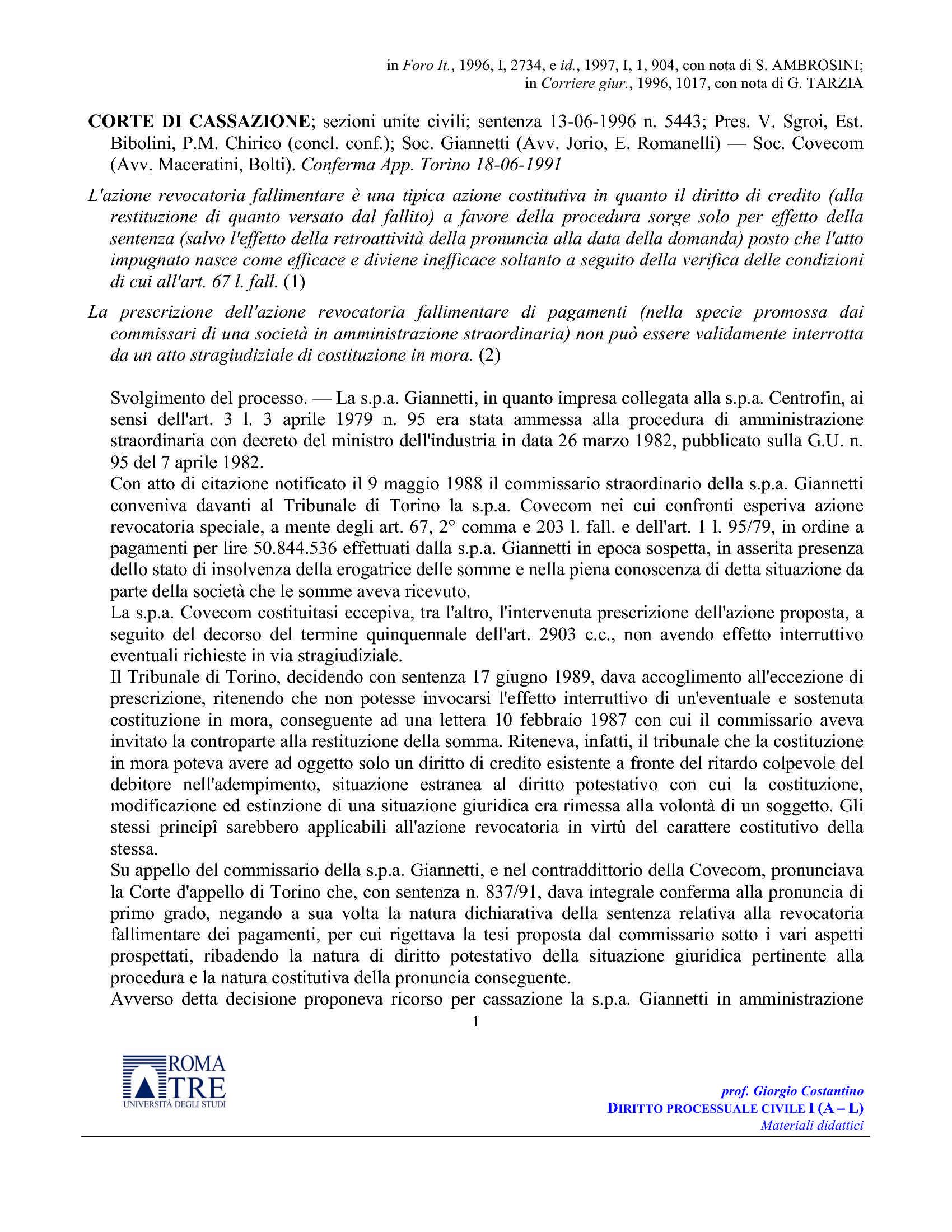 Natura revocatoria fallimentare - C. Cass. n. 5443/96