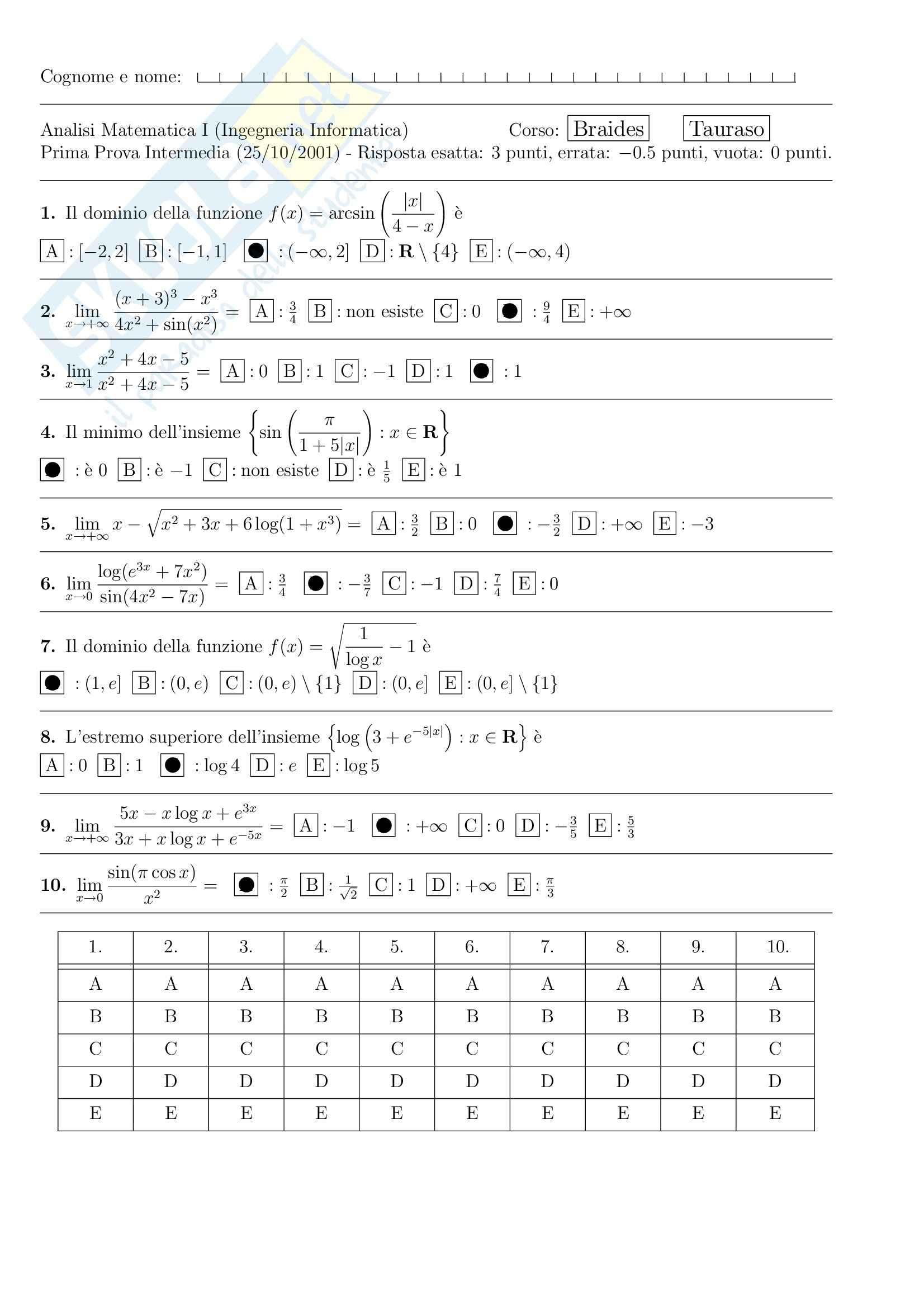 Analisi I – Corso completo Pag. 126