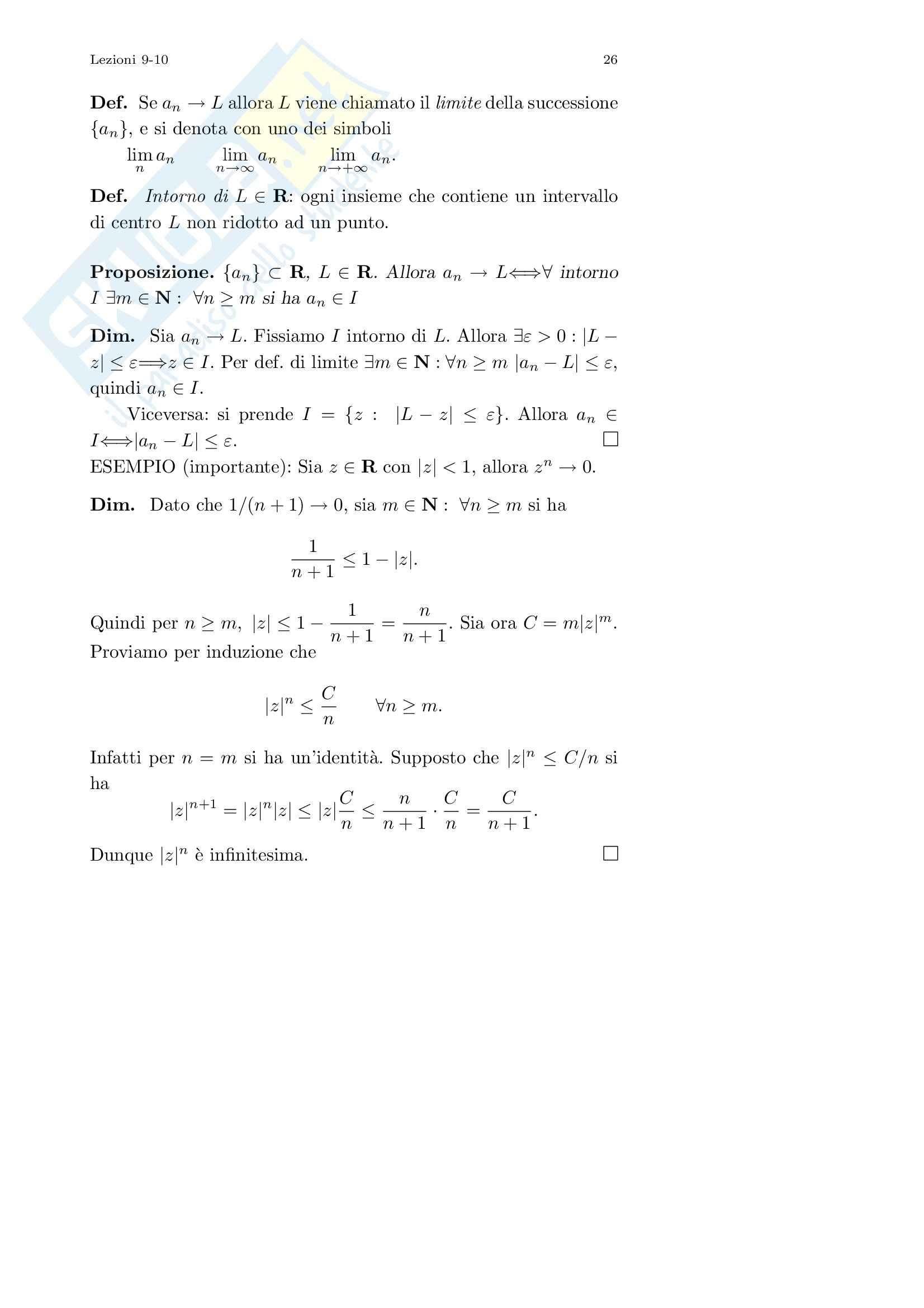 Analisi I – Corso completo Pag. 26