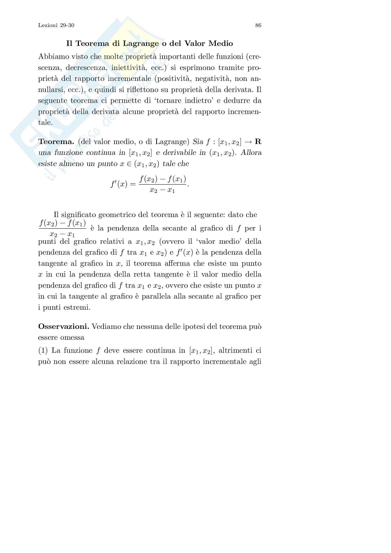 Analisi I – Corso completo Pag. 86