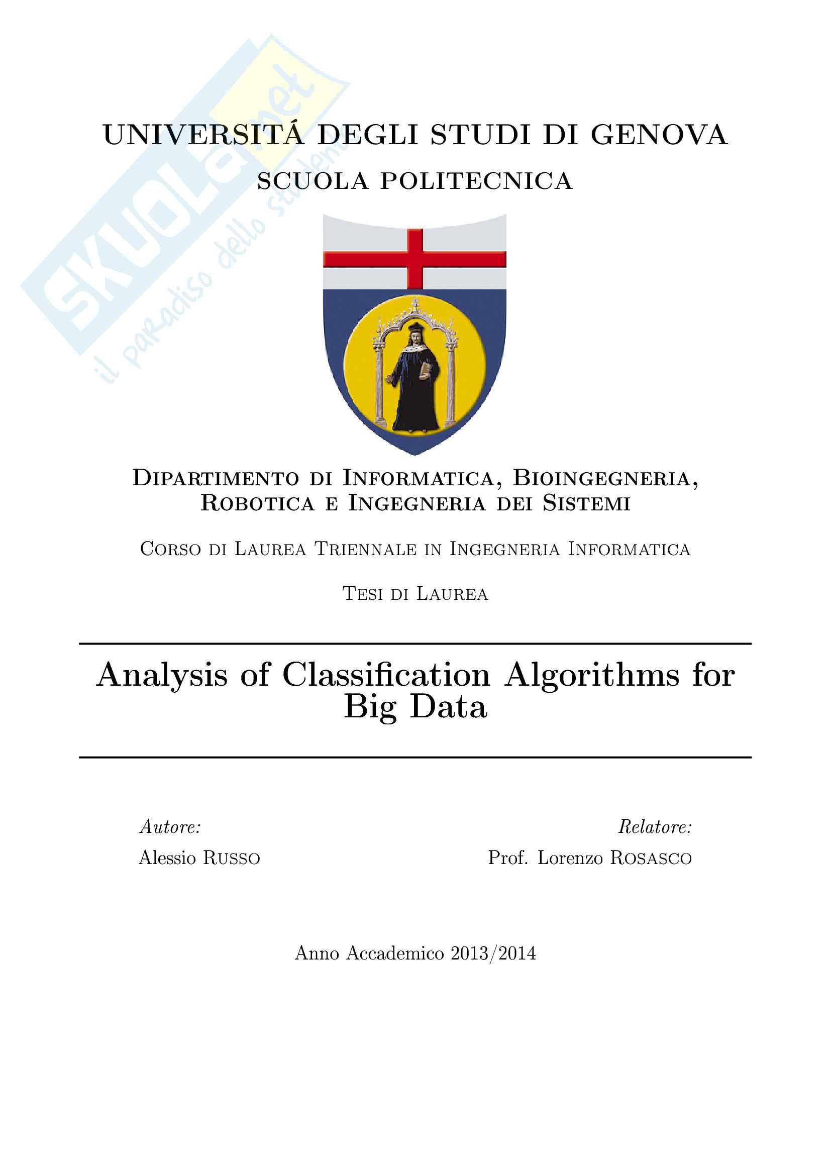Analisi di Algoritmi di Classificazione - Tesi Russo Alessio