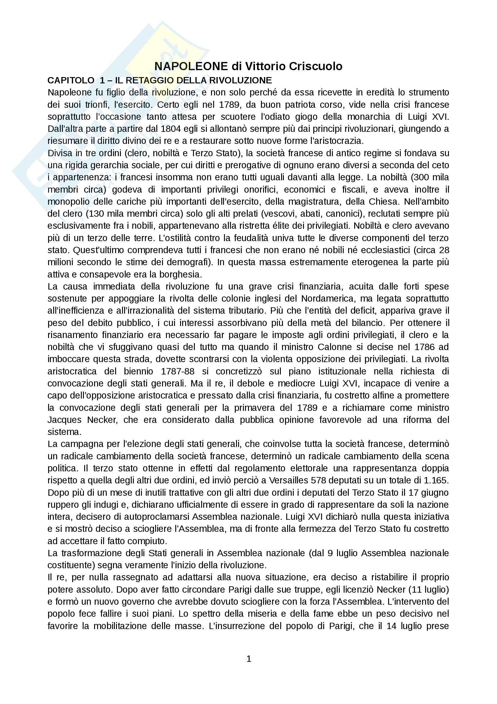 Riassunto esame Storia moderna, prof. Levati, libro consigliato: Napoleone di Vittorio Criscuolo