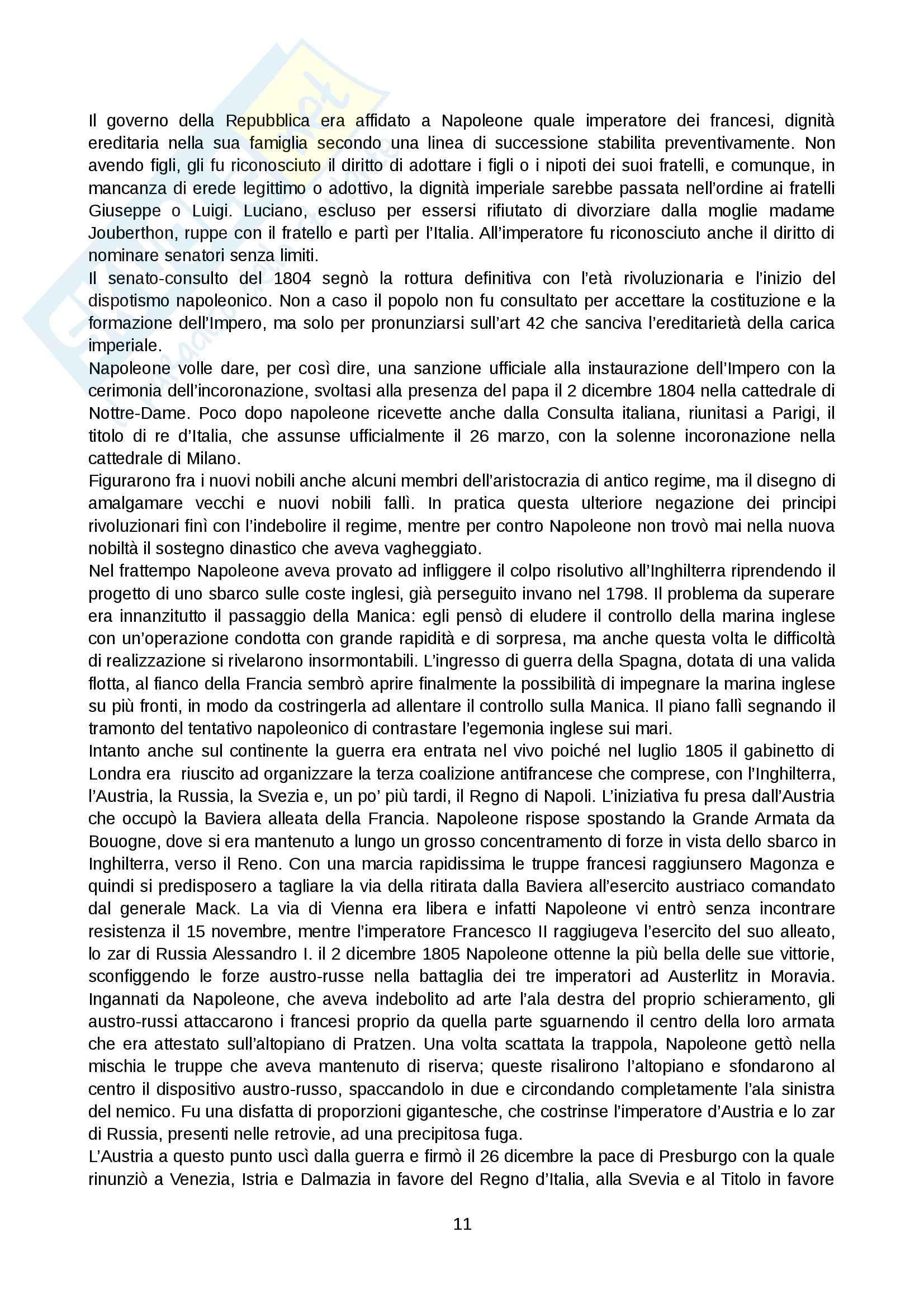 Riassunto esame Storia moderna, prof. Levati, libro consigliato: Napoleone di Vittorio Criscuolo Pag. 11