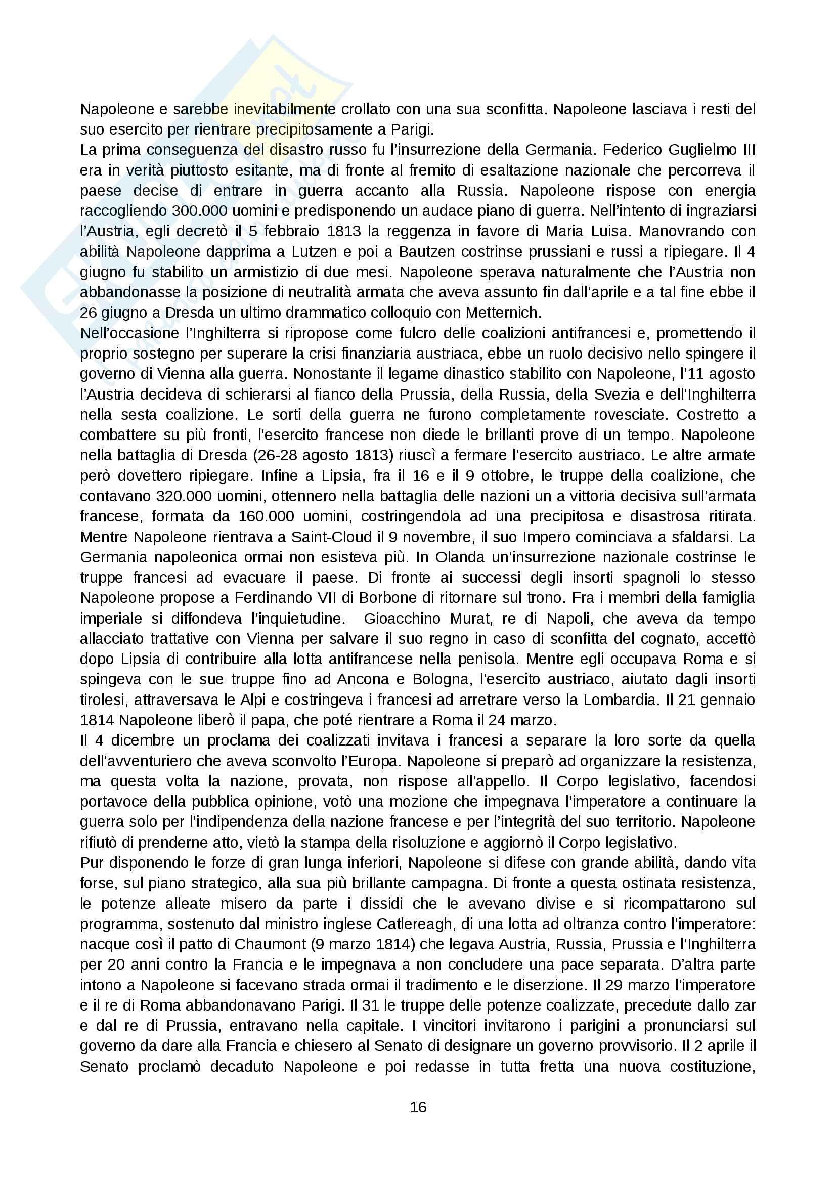 Riassunto esame Storia moderna, prof. Levati, libro consigliato: Napoleone di Vittorio Criscuolo Pag. 16