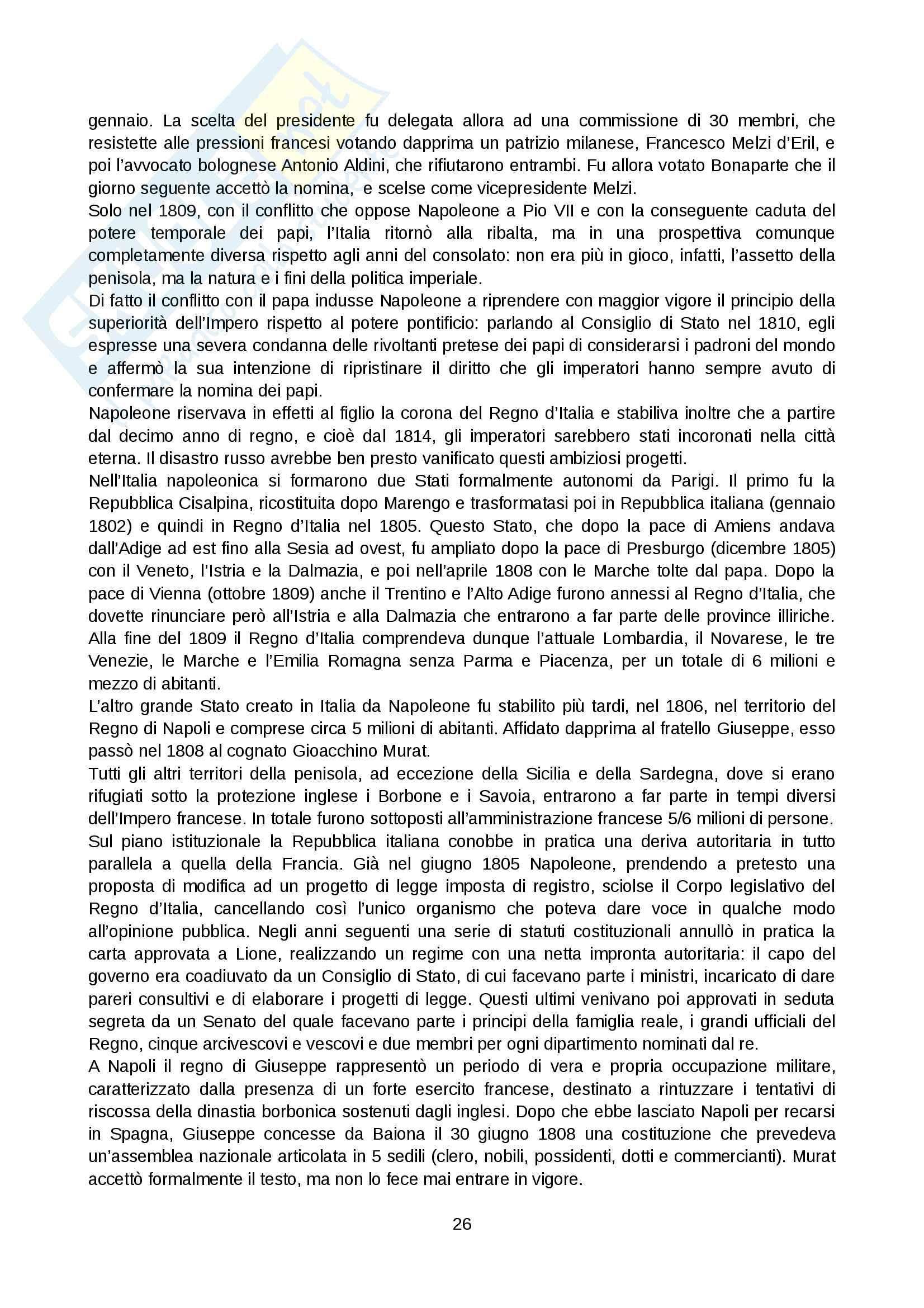Riassunto esame Storia moderna, prof. Levati, libro consigliato: Napoleone di Vittorio Criscuolo Pag. 26