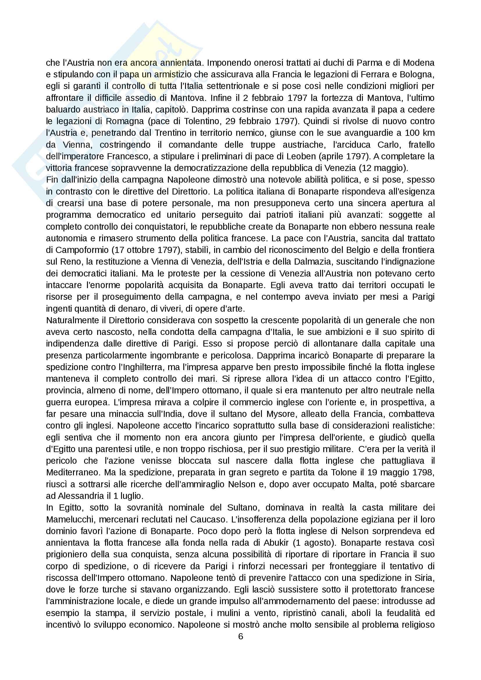 Riassunto esame Storia moderna, prof. Levati, libro consigliato: Napoleone di Vittorio Criscuolo Pag. 6