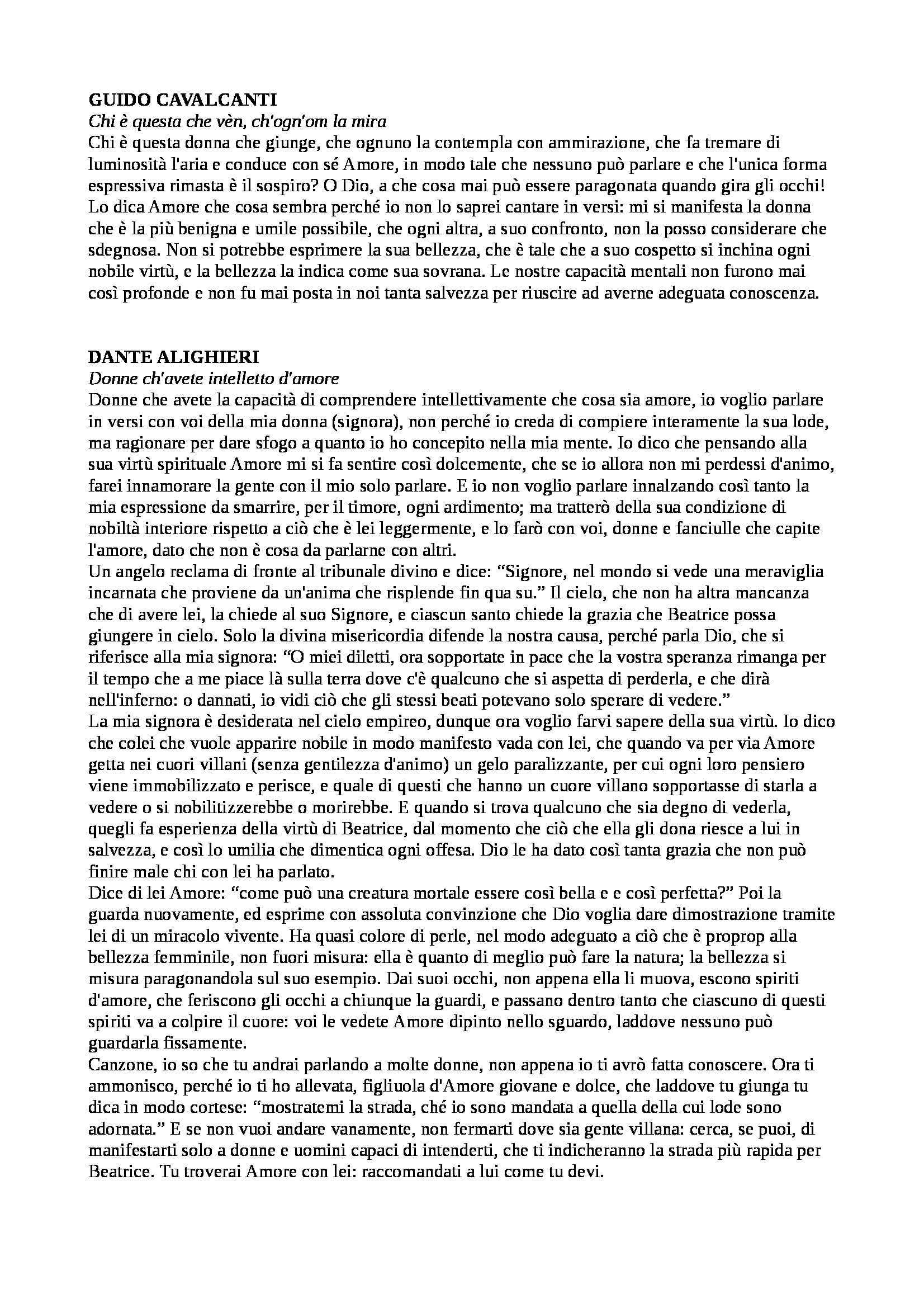 Letteratura italiana - Appunti
