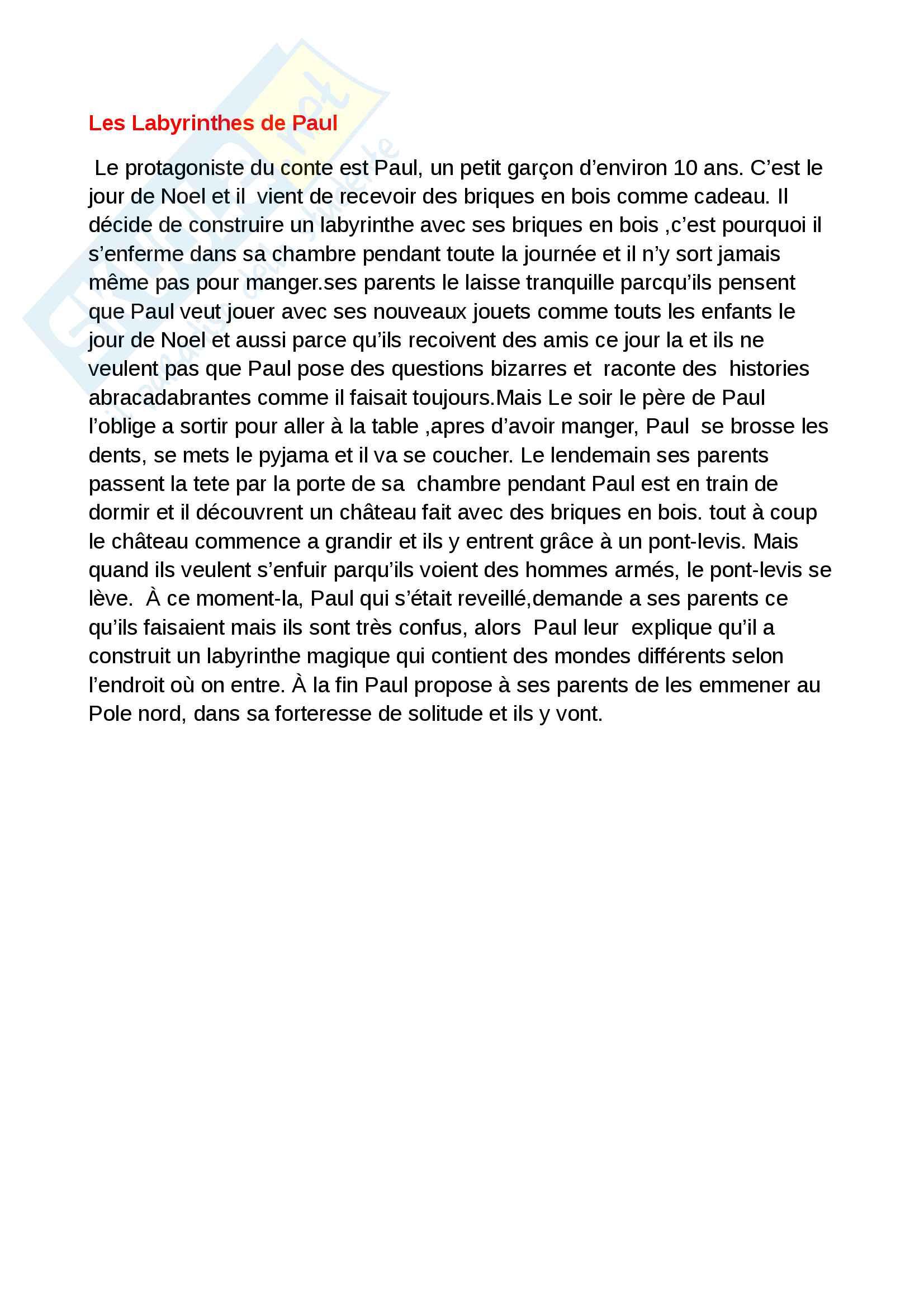 Riassunti francese orale 1, libro consigliato Neuf contes