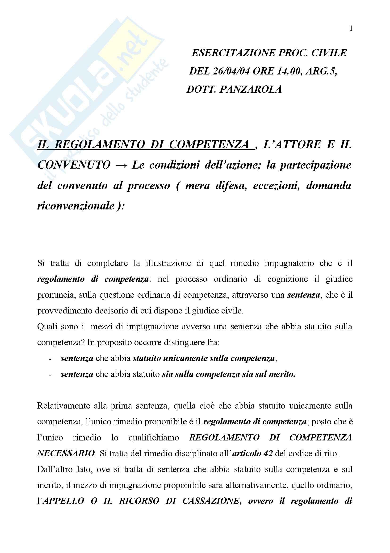 Diritto processuale civile - regolamento di competenza, attore e convenuto