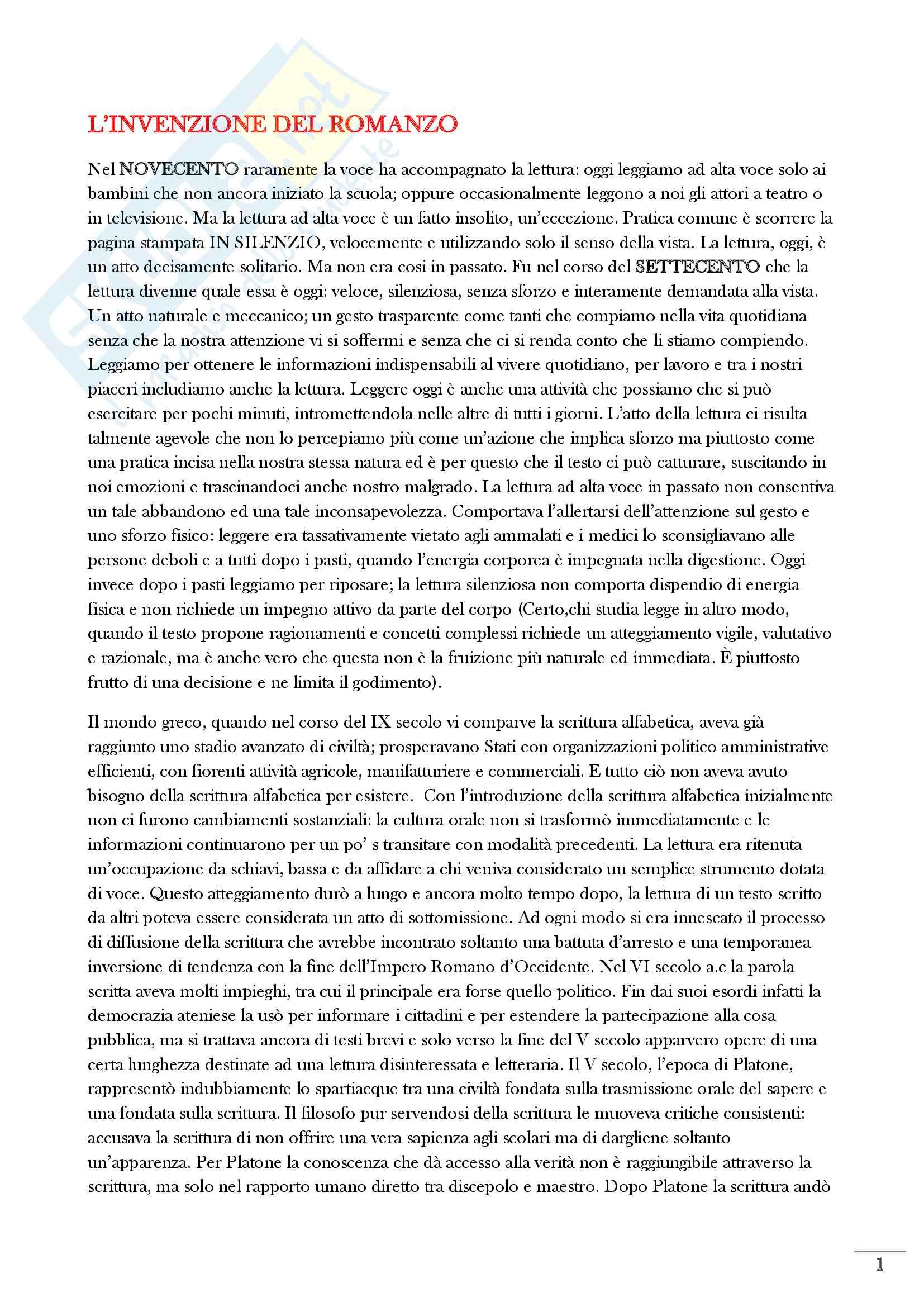 Riassunto esame Storia del libro e dei sistemi editoriali, prof Montecchi, libro consigliato L'Invenzione del Romanzo di Rosamaria Loretelli
