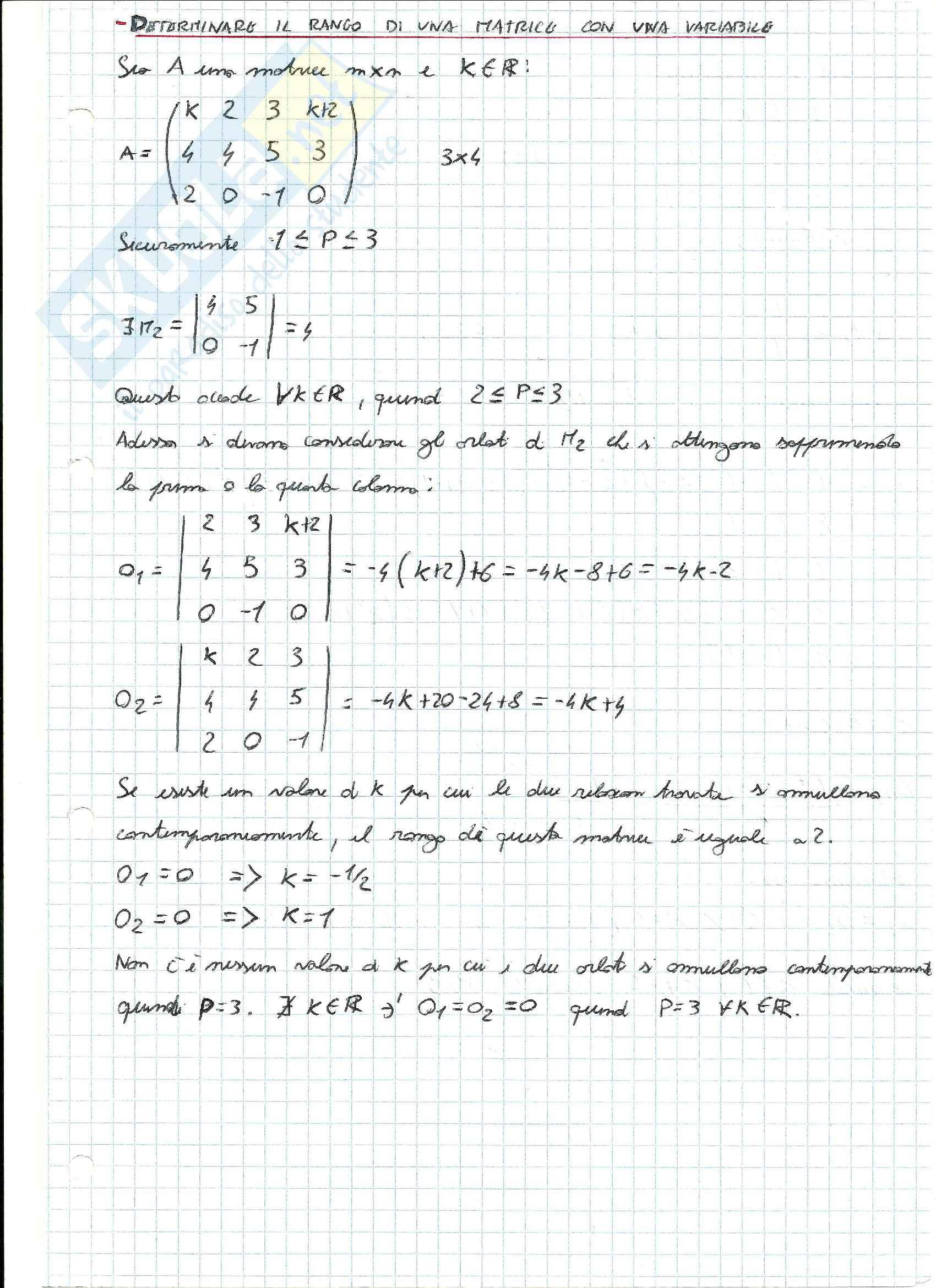 Esercizi svolti di Algebra delle matrici