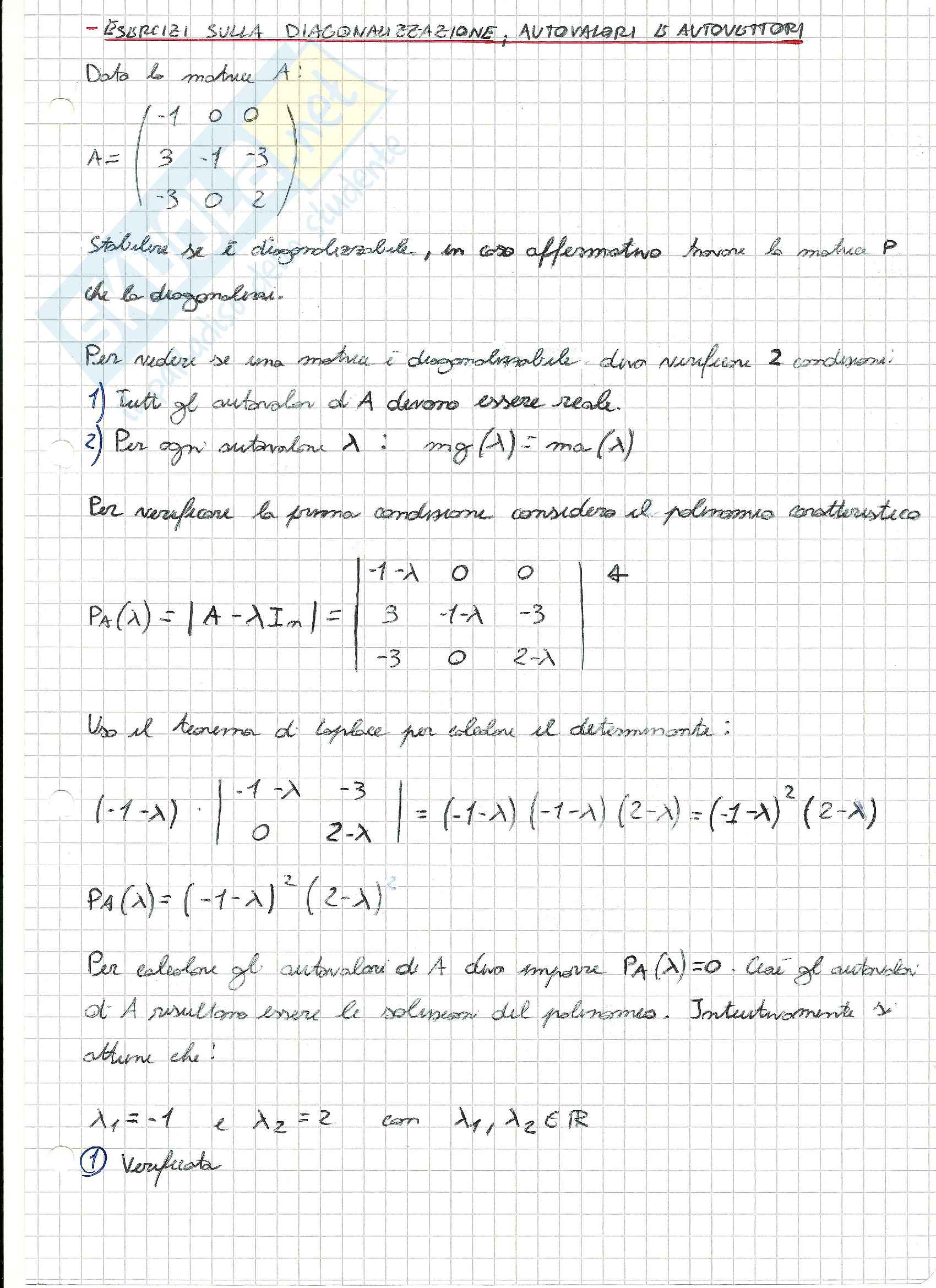 Esercizi svolti di Algebra delle matrici Pag. 31