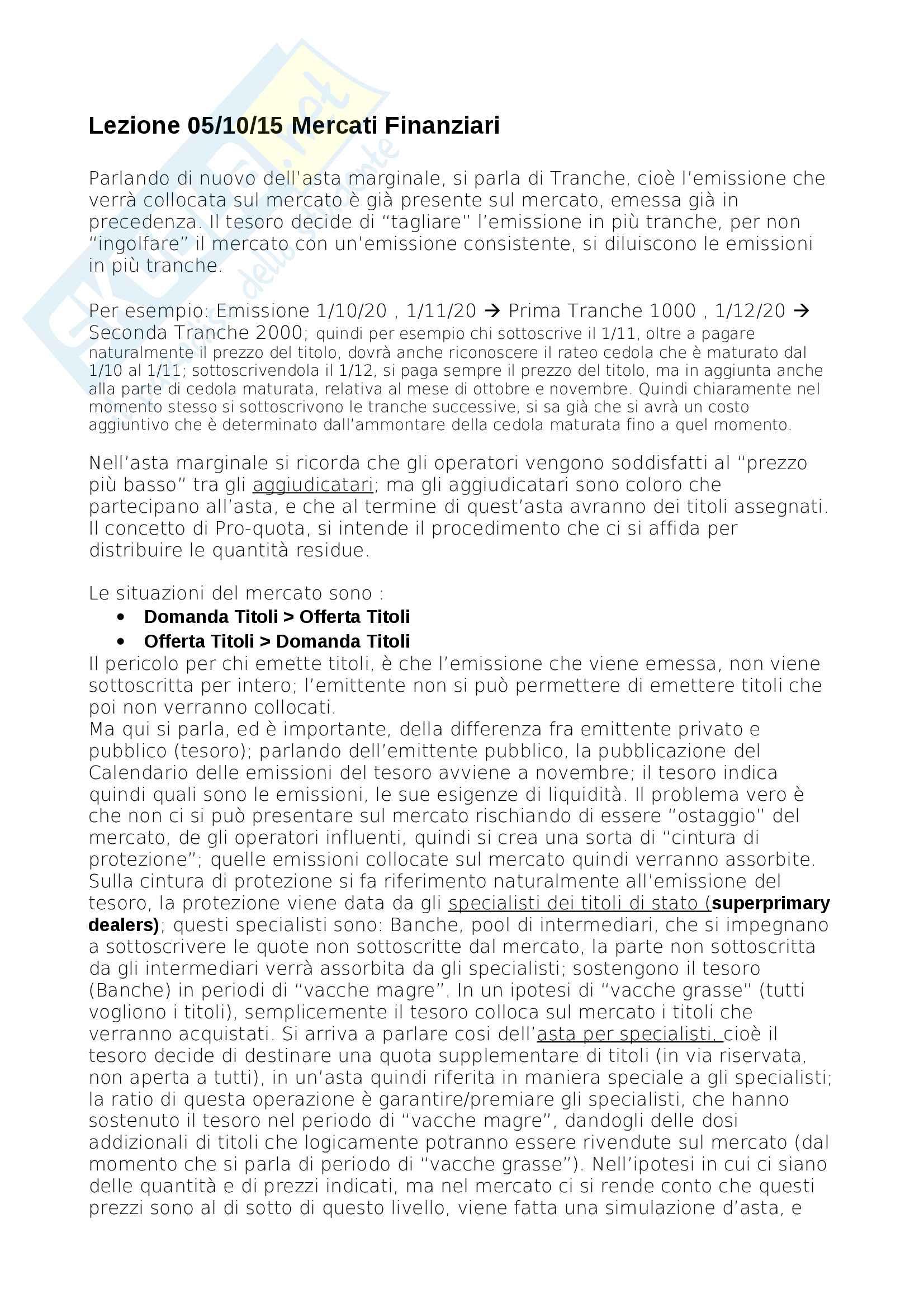 Lezione 05 10 Mercati finanziari