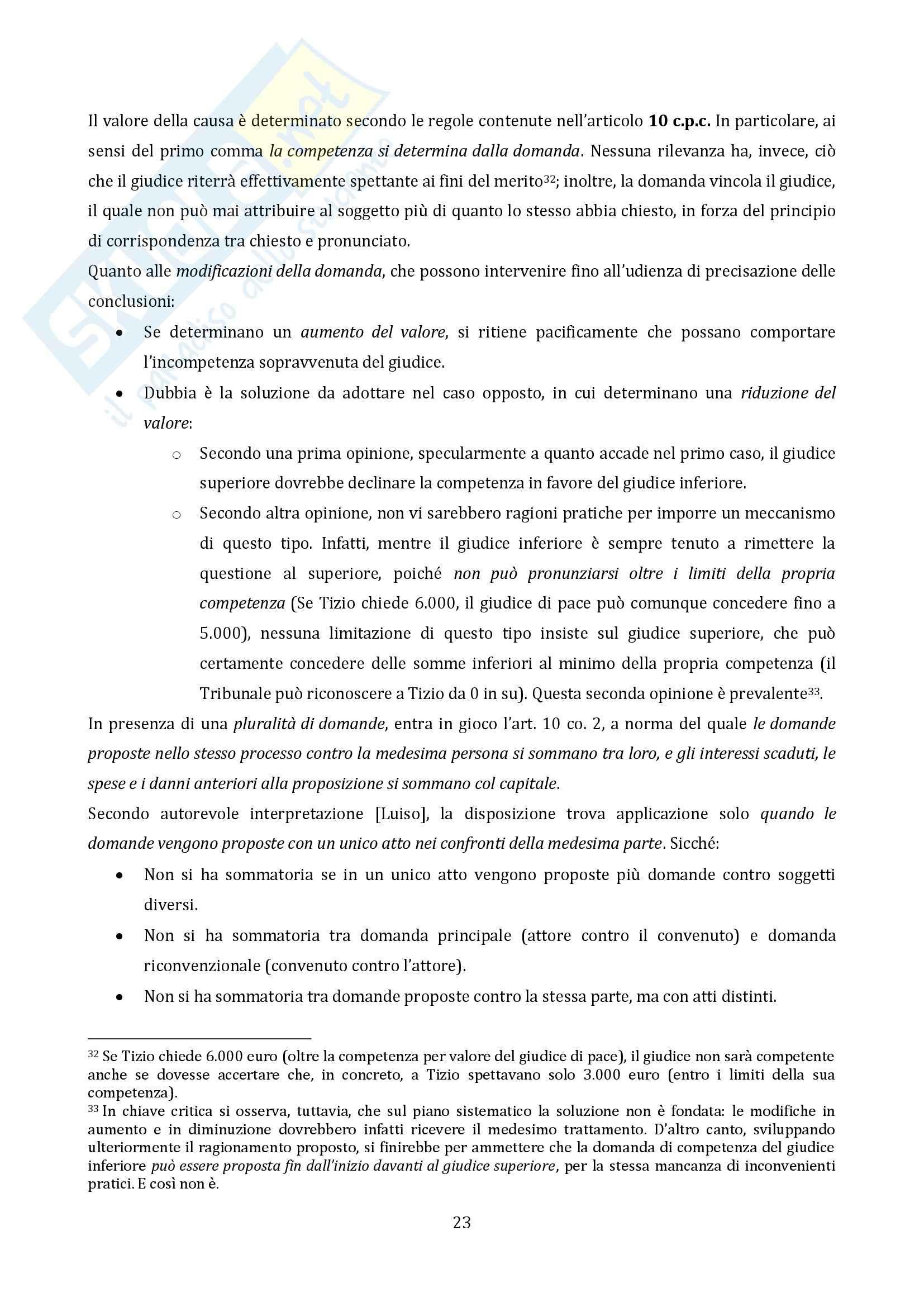 Riassunto esame Diritto Processuale Civile, prof. Vaccarella, libro consigliato Principi Generali, Luiso Pag. 21