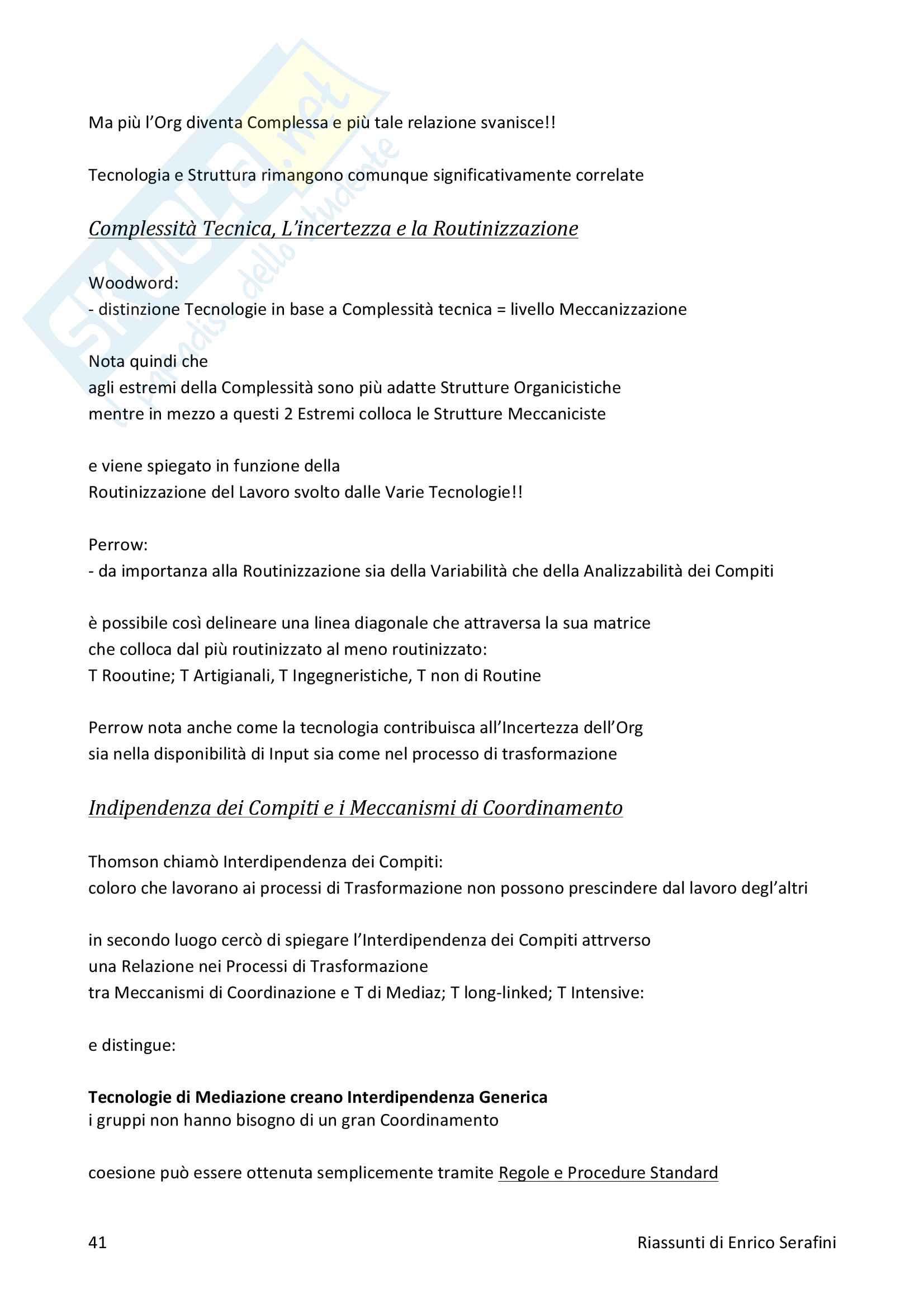 Riassunto esame Psicologia clinica dei gruppi e delle organizzazioni, docente Ripamonti, libro consigliato Teoria dell'Organizzazione Pag. 41
