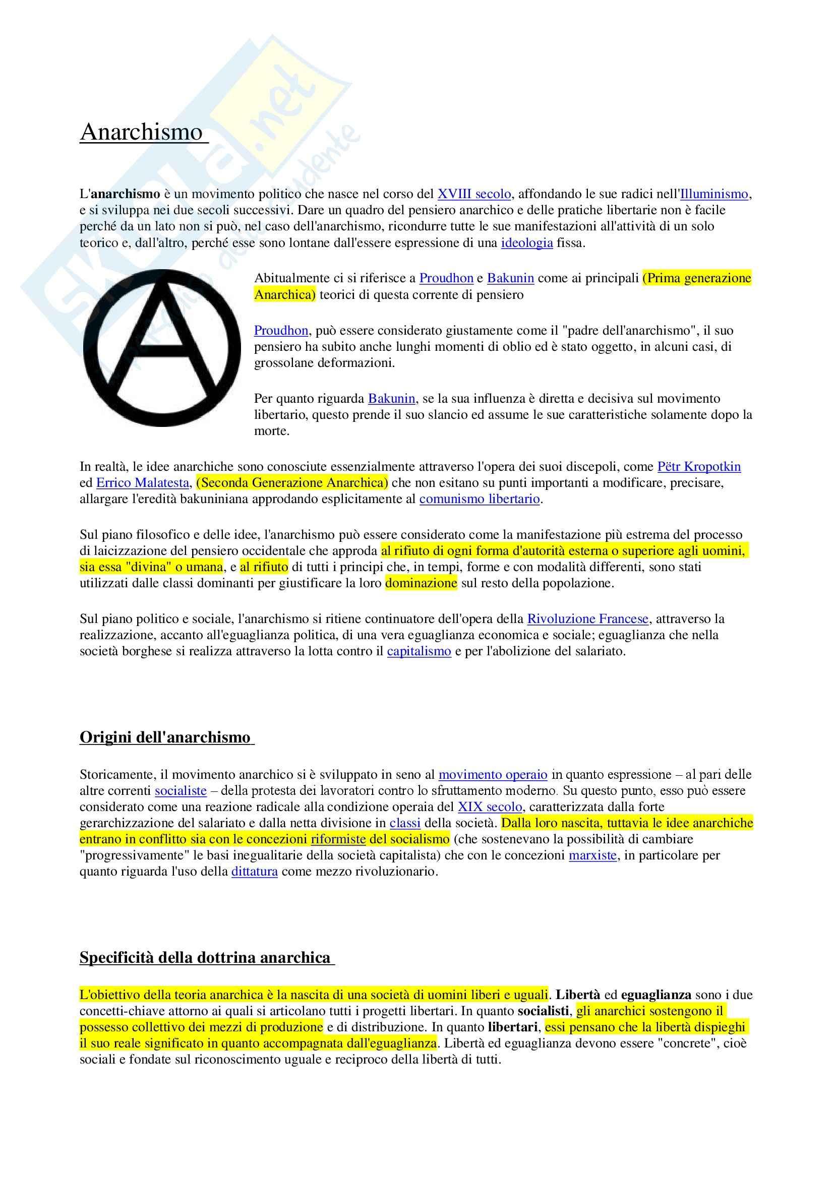 Storia del pensiero politico contemporaneo - anarchismo