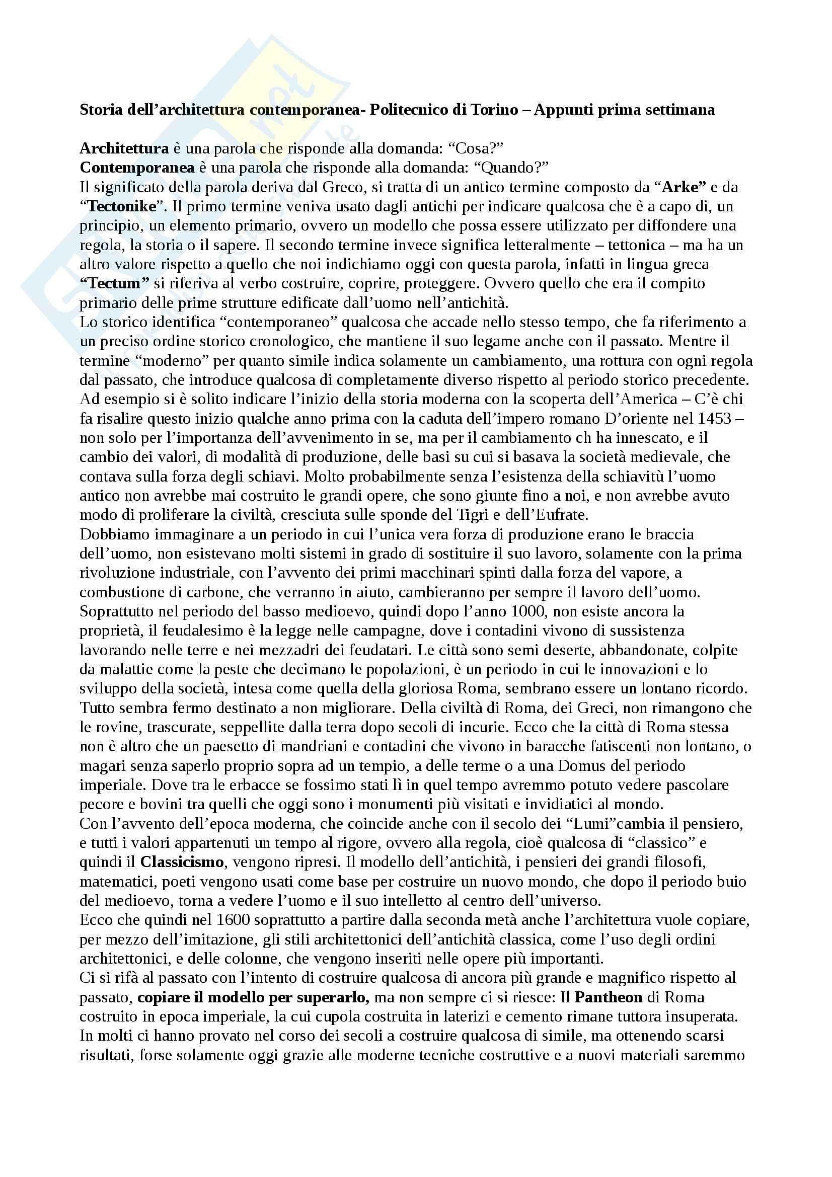 Storia dell'architettura contemporanea - Architettura neoclassica, tra 1700 e 1800.