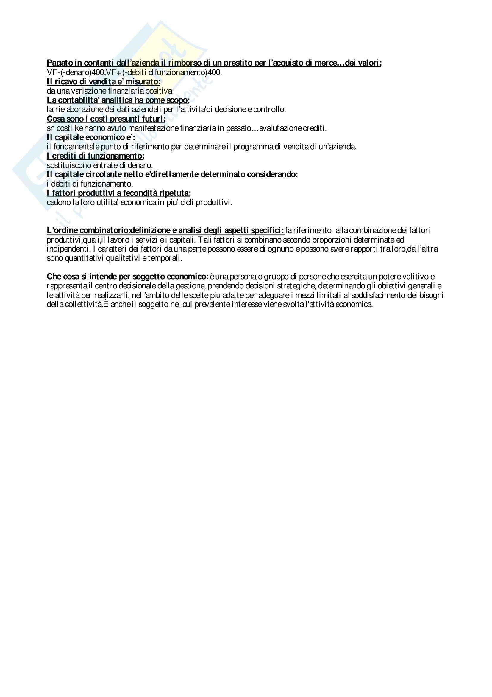 esercitazione G. Carbonara Economia Aziendale