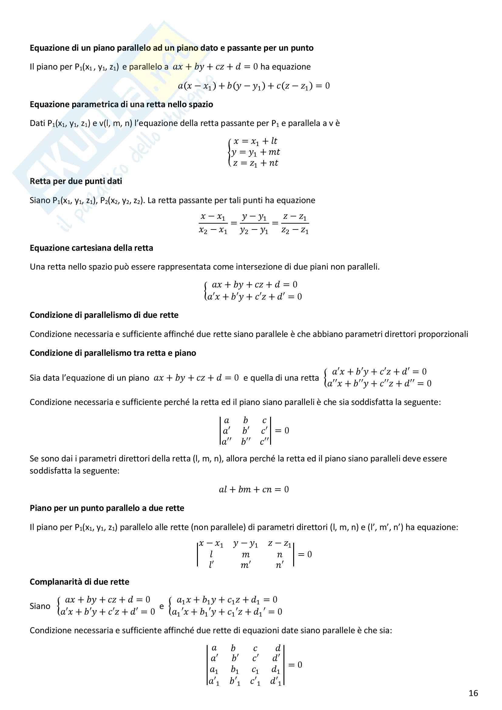 Formulario Geometria e Algebra Lineare Pag. 16