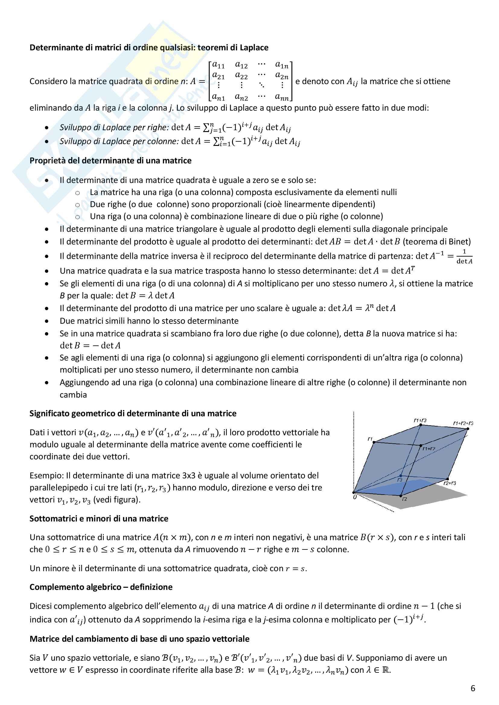 Formulario Geometria e Algebra Lineare Pag. 6
