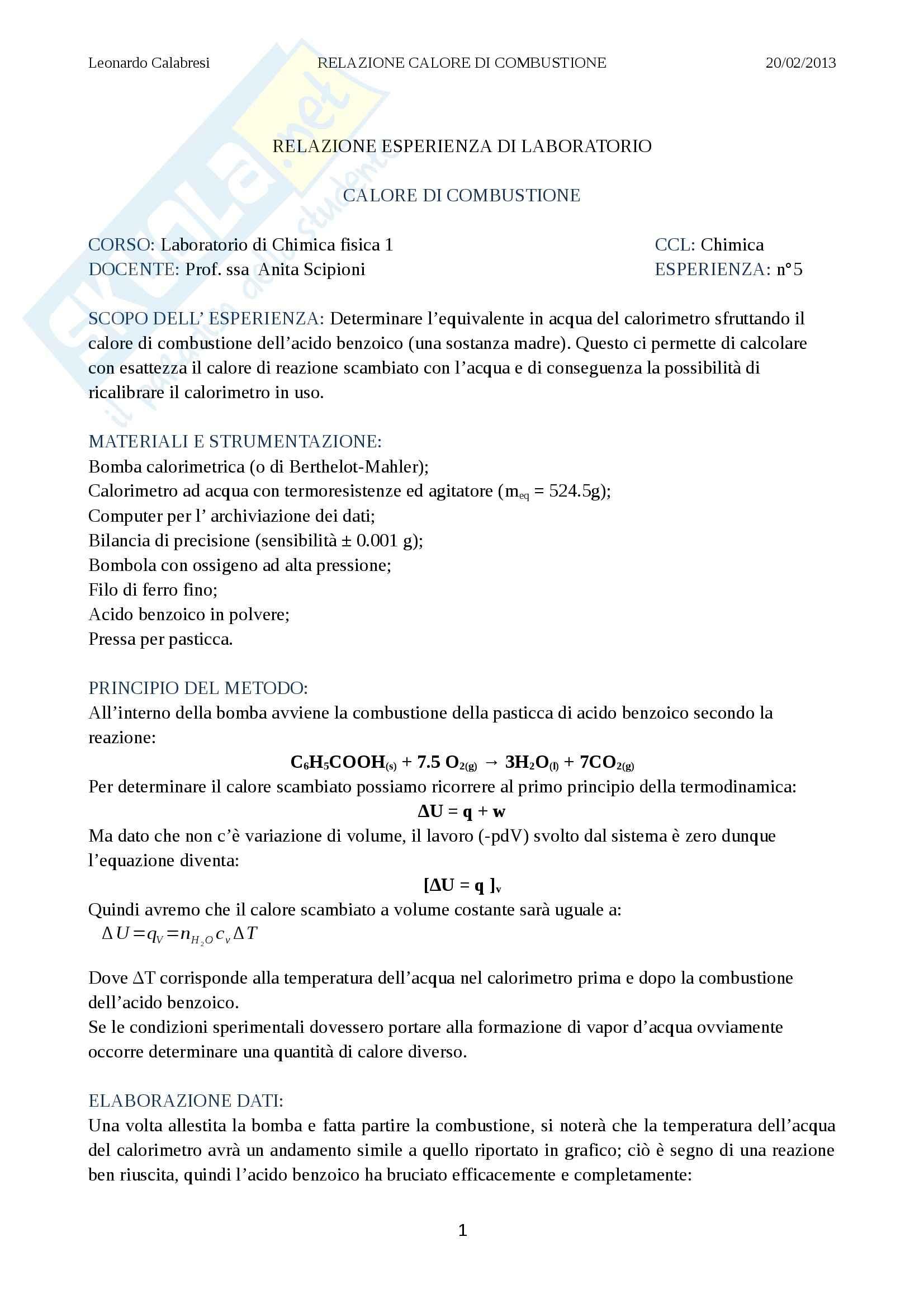 Relazione laboratorio (bomba calorimetrica), Chimica fisica