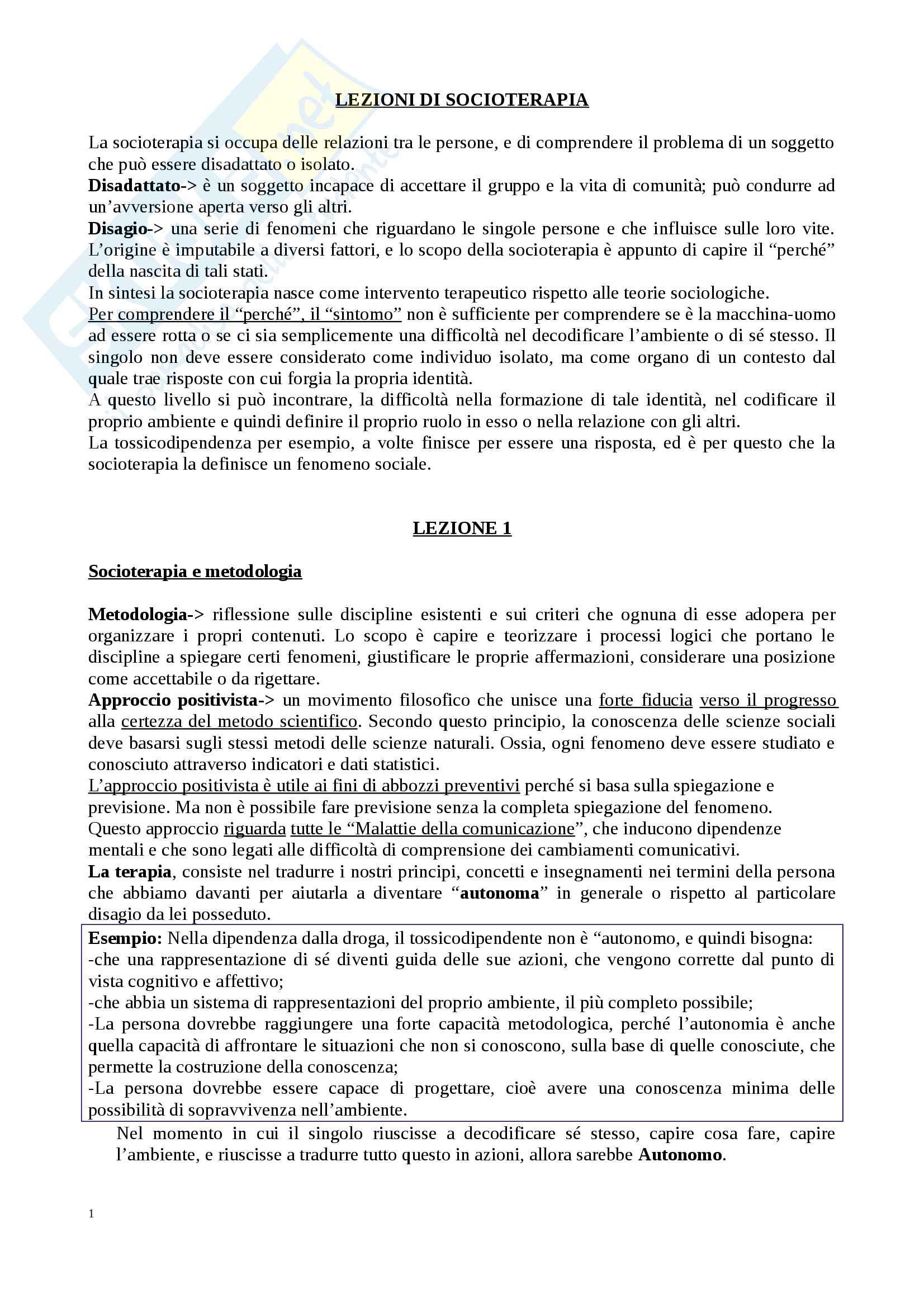 Riassunto esame Comunicazione e Socioterapia, prof. Benvenuti, libro consigliato Lezioni di socioterapia,  Benvenuti