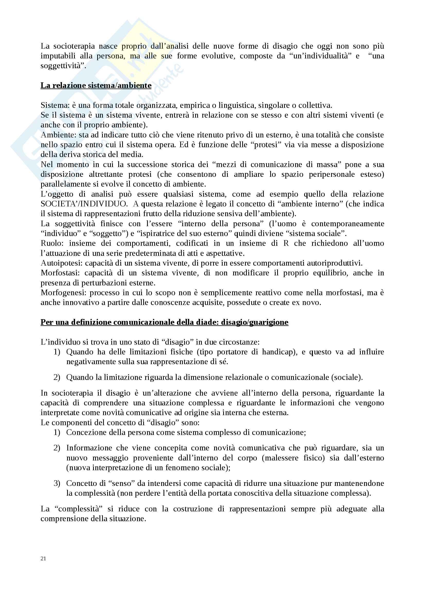 Riassunto esame Comunicazione e Socioterapia, prof. Benvenuti, libro consigliato Lezioni di socioterapia,  Benvenuti Pag. 21
