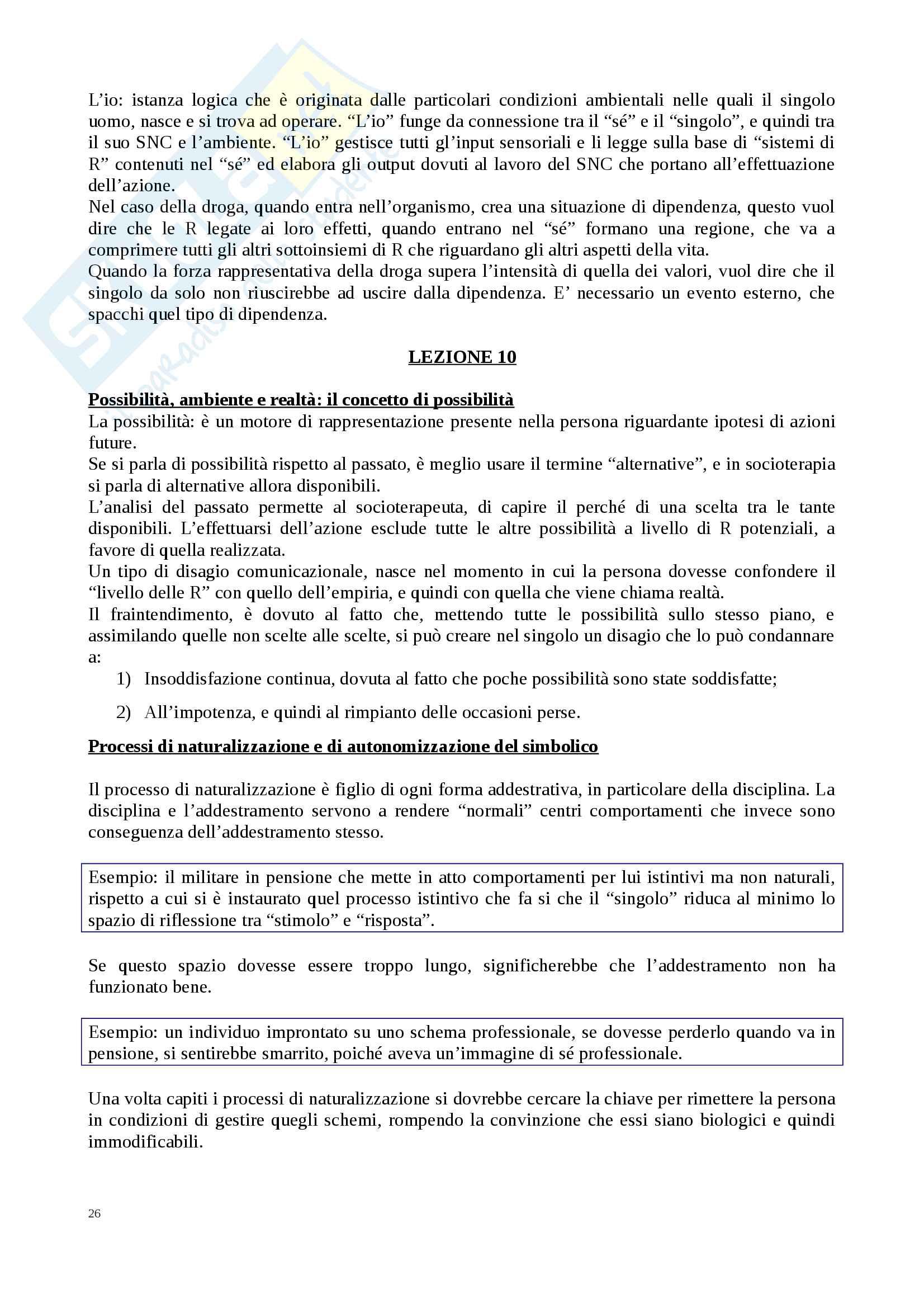 Riassunto esame Comunicazione e Socioterapia, prof. Benvenuti, libro consigliato Lezioni di socioterapia,  Benvenuti Pag. 26