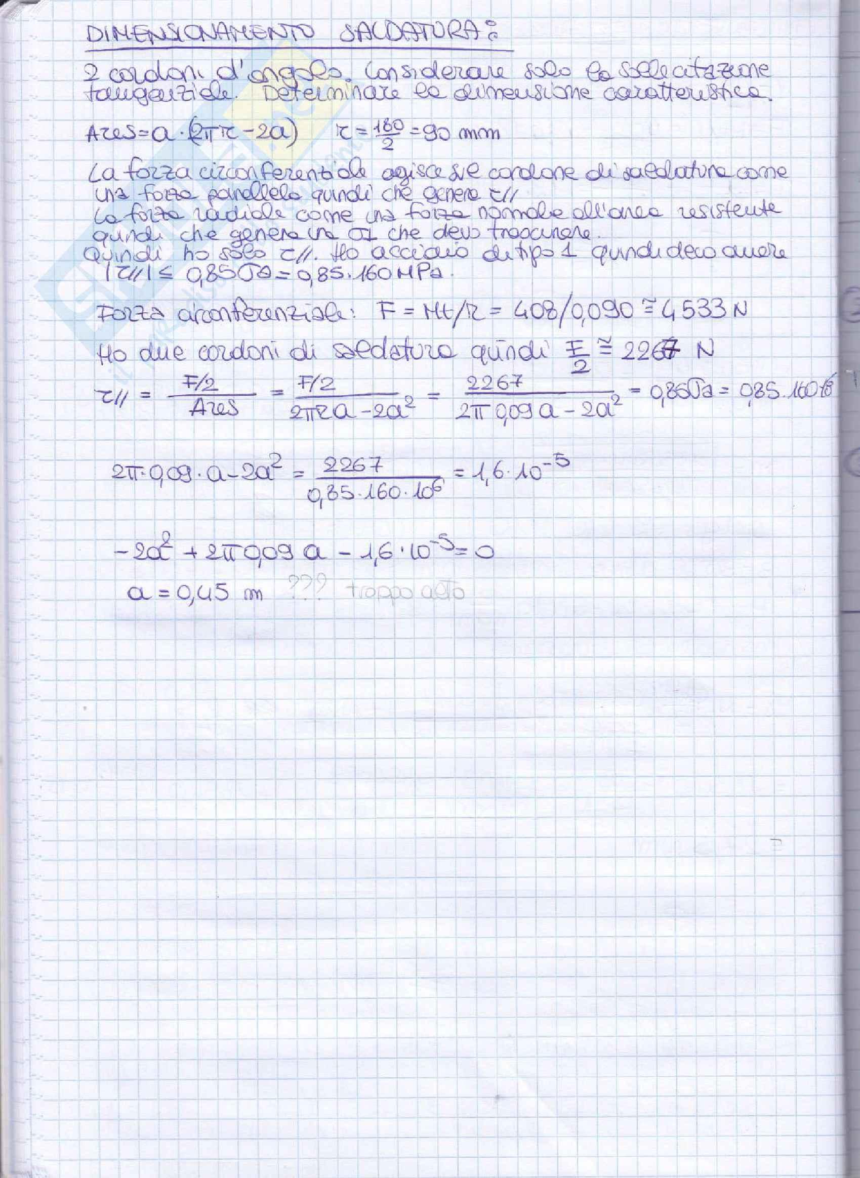Elementi costruttivi delle macchine - Esercizi esame svolti Pag. 91
