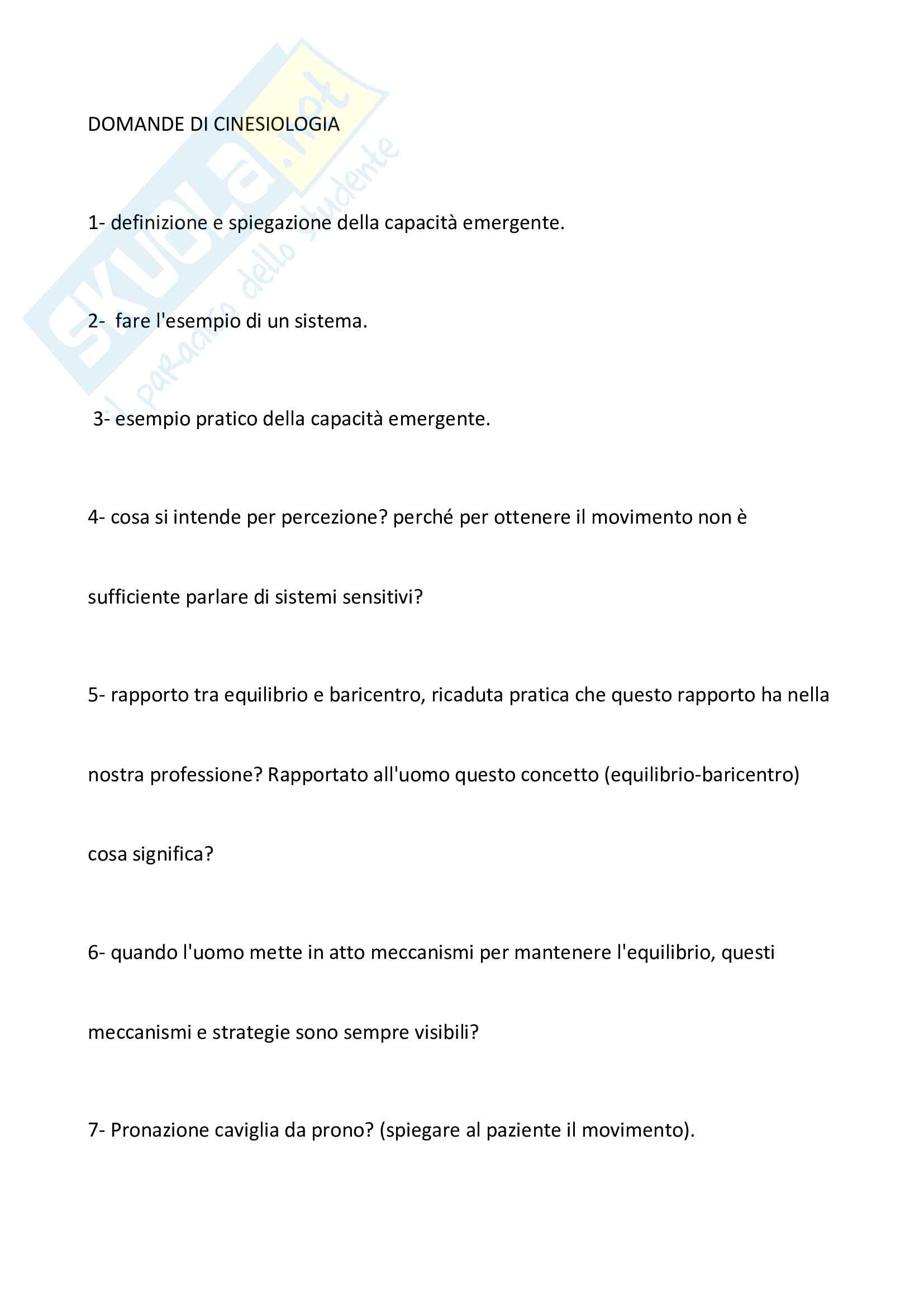 """Domande esame """"Cinesiologia"""" - Prof. Benedetti"""