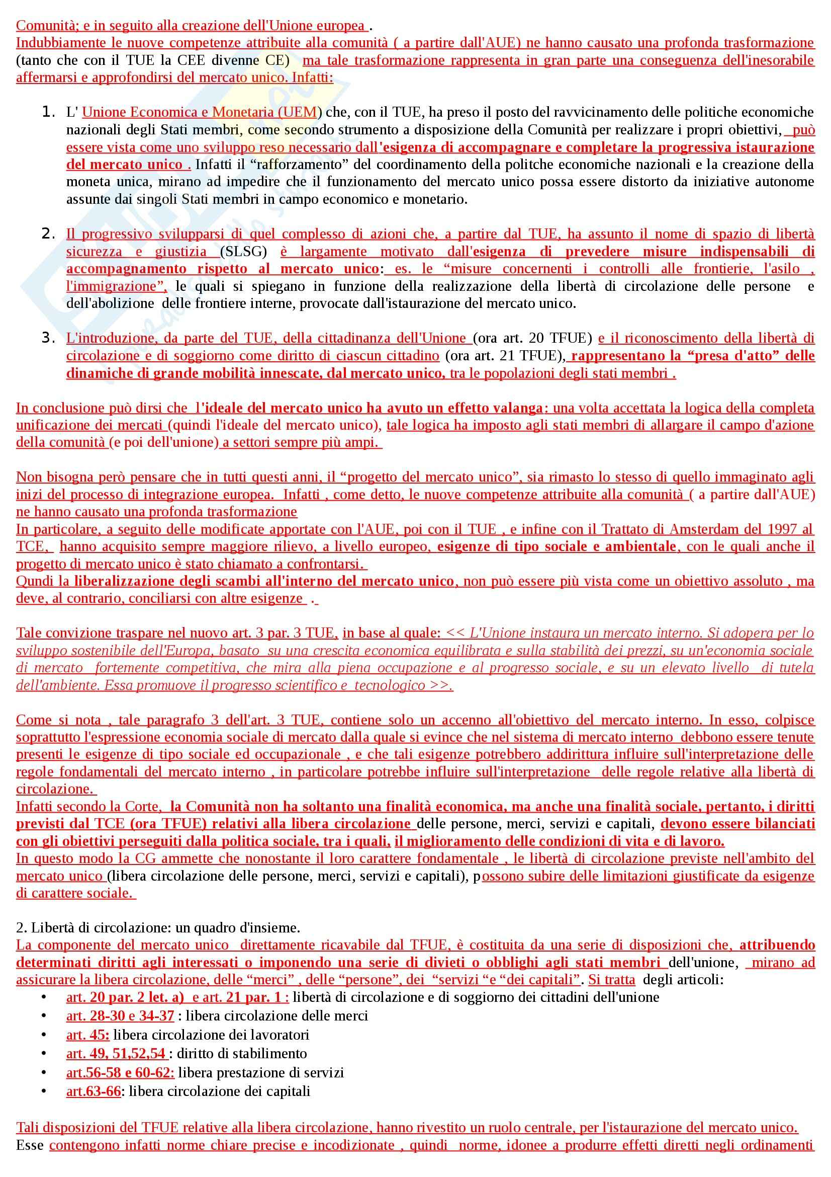 Riassunto esame Diritto dell'Unione Europea, prof. Daniele, libro consigliato Diritto del Mercato Unico Europeo di Daniele Pag. 2