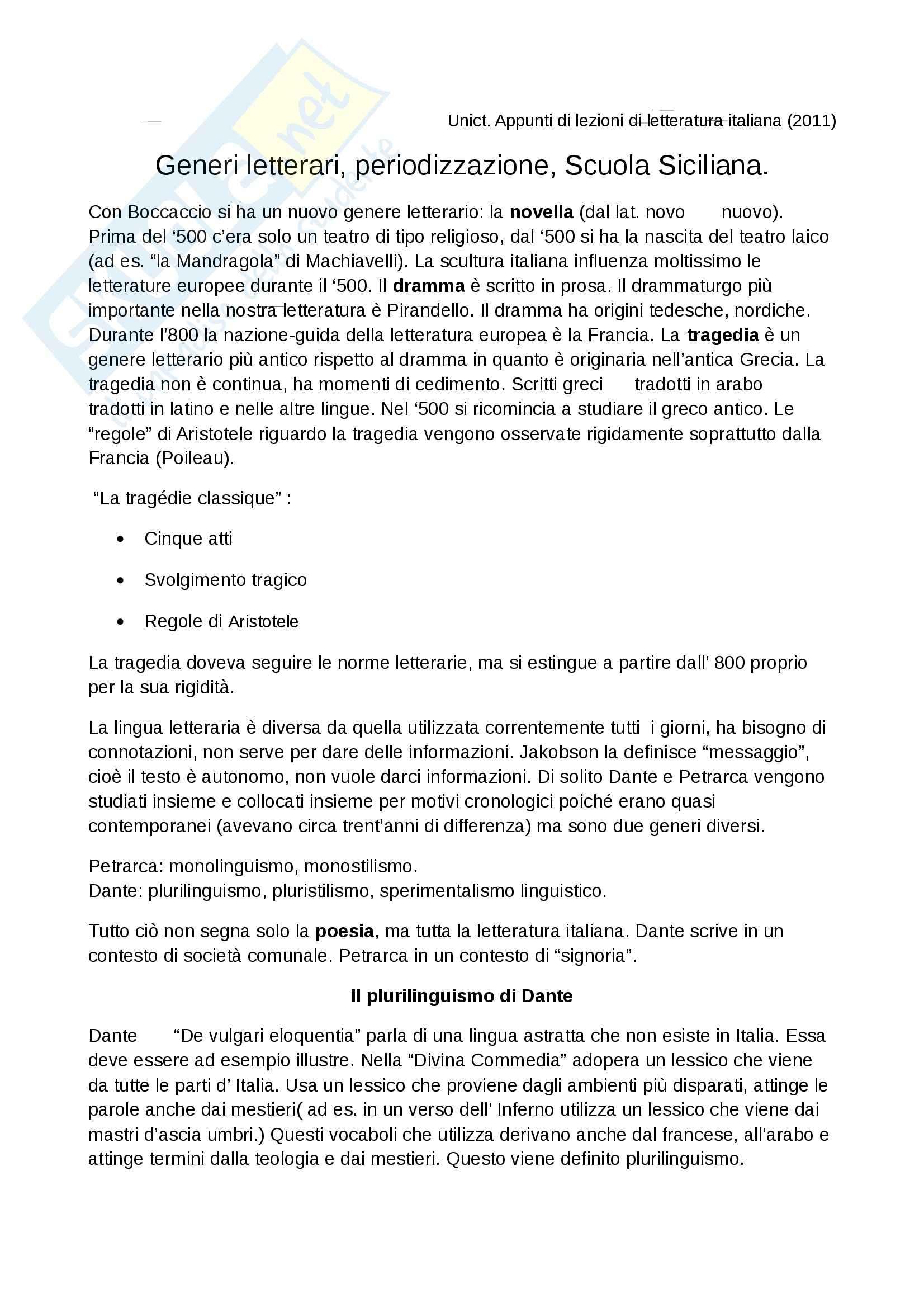 appunto G. Lombardo Letteratura italiana