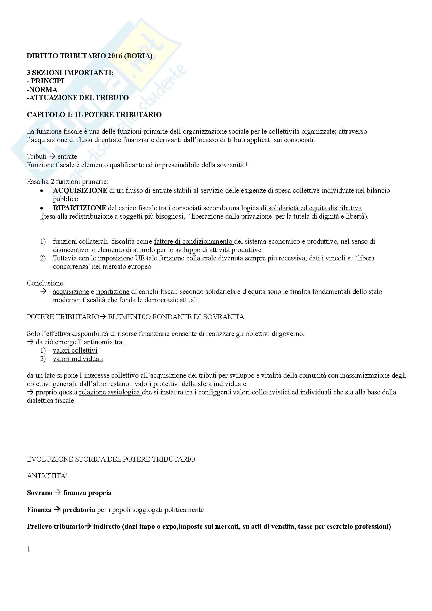 Riassunto esame Diritto tributario, prof. Boria. Libro consigliato Diritto tributario, Boria