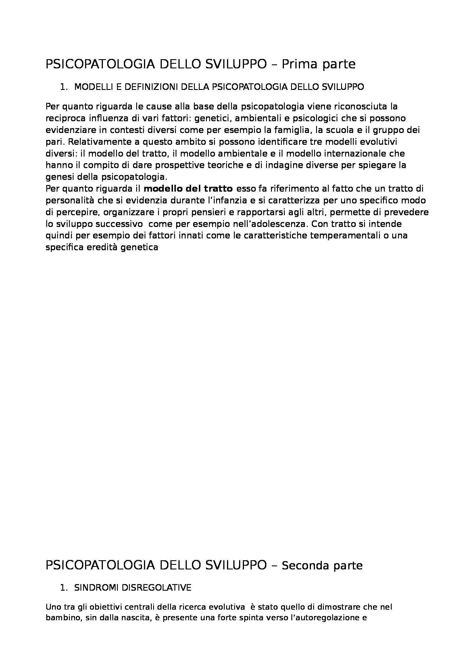 Riassunto esame Psicopatologia dello Sviluppo, prof. Simonelli
