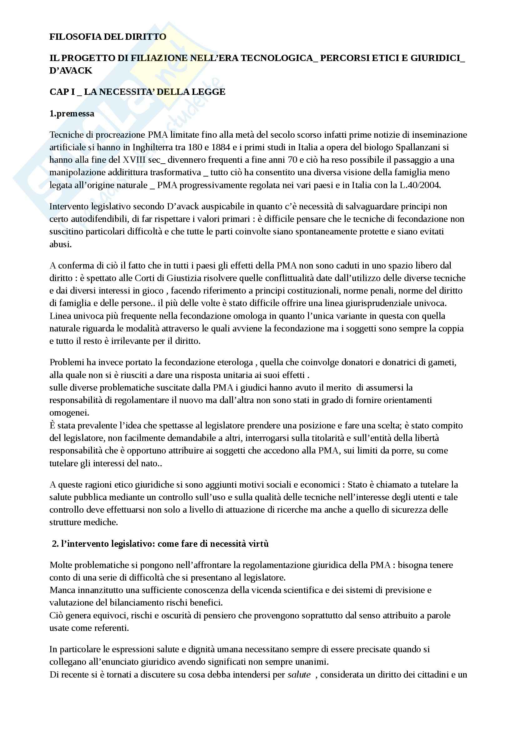 Riassunto esame filosofia del diritto, prof. D'Avack, libro consigliato Il progetto di filiazione nell'era tecnologica, D'Avack