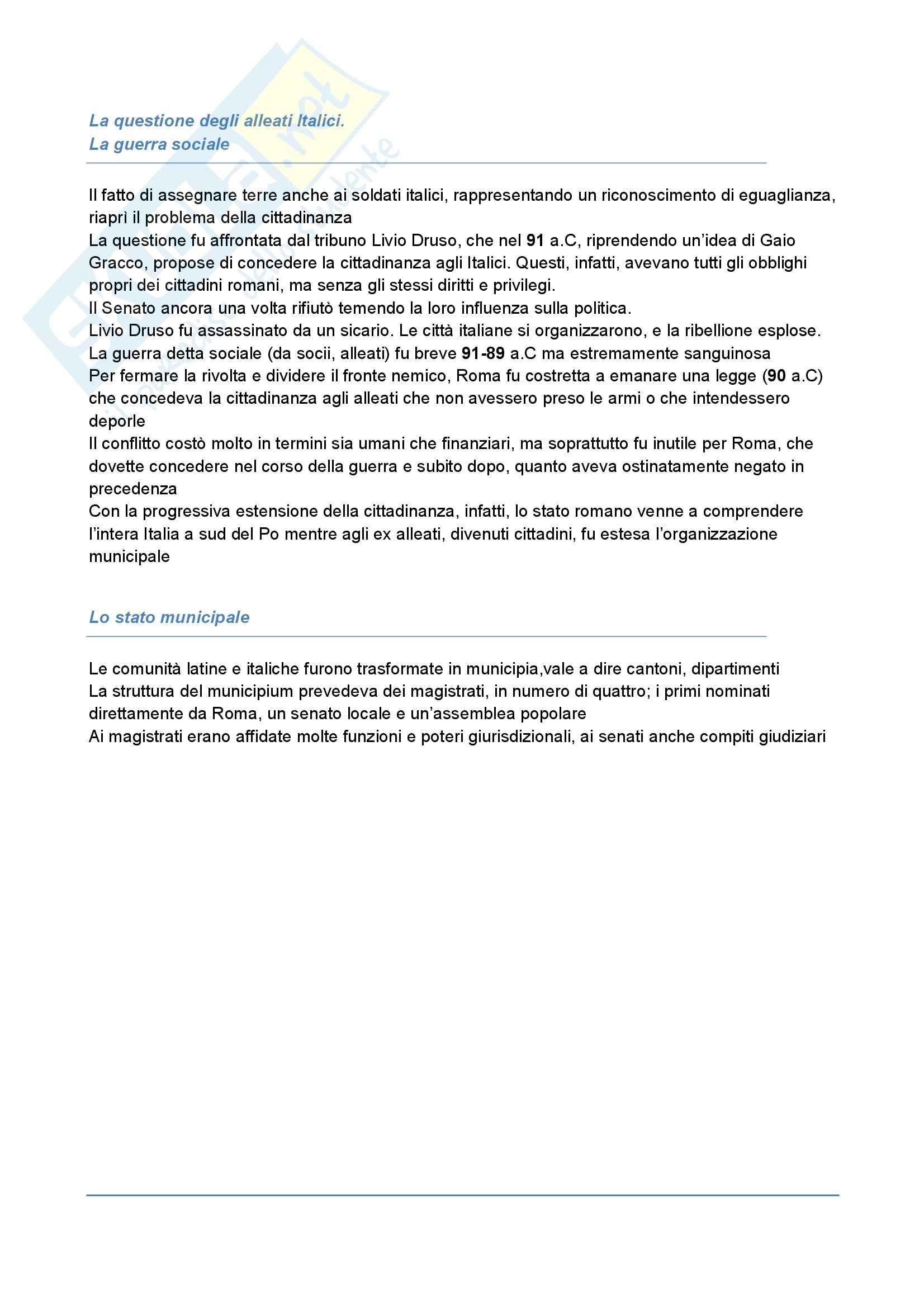 Riassunto esame Storia romana, prof. Albana, libro consigliato Introduzione alla storia di Roma, Gabba Pag. 11