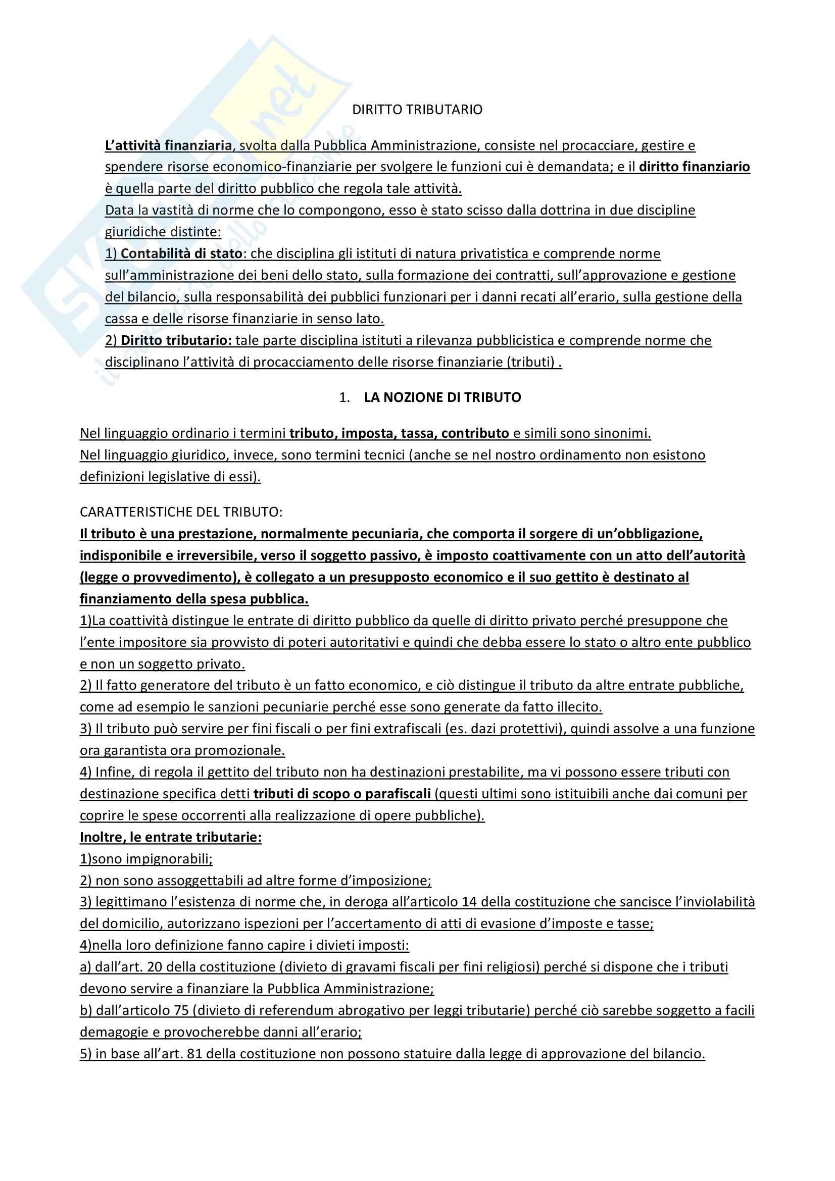 Riassunto esame Diritto tributario, prof. Muscarà, libro consigliato Istituzioni di diritto tributario, Francesco Tesauro