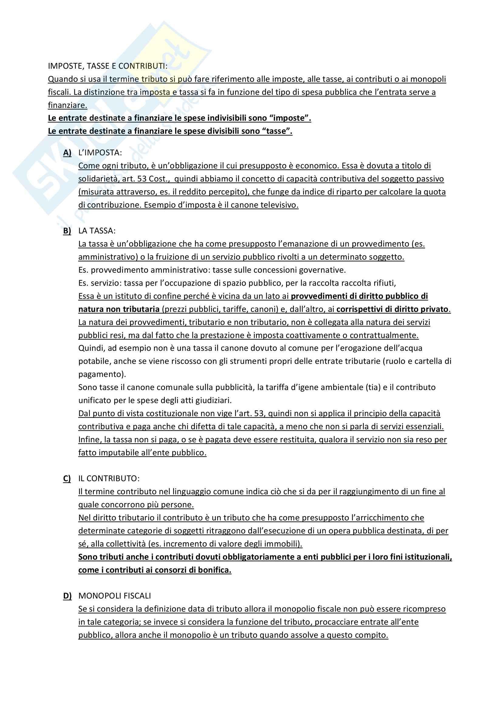 Riassunto esame Diritto tributario, prof. Muscarà, libro consigliato Istituzioni di diritto tributario, Francesco Tesauro Pag. 2