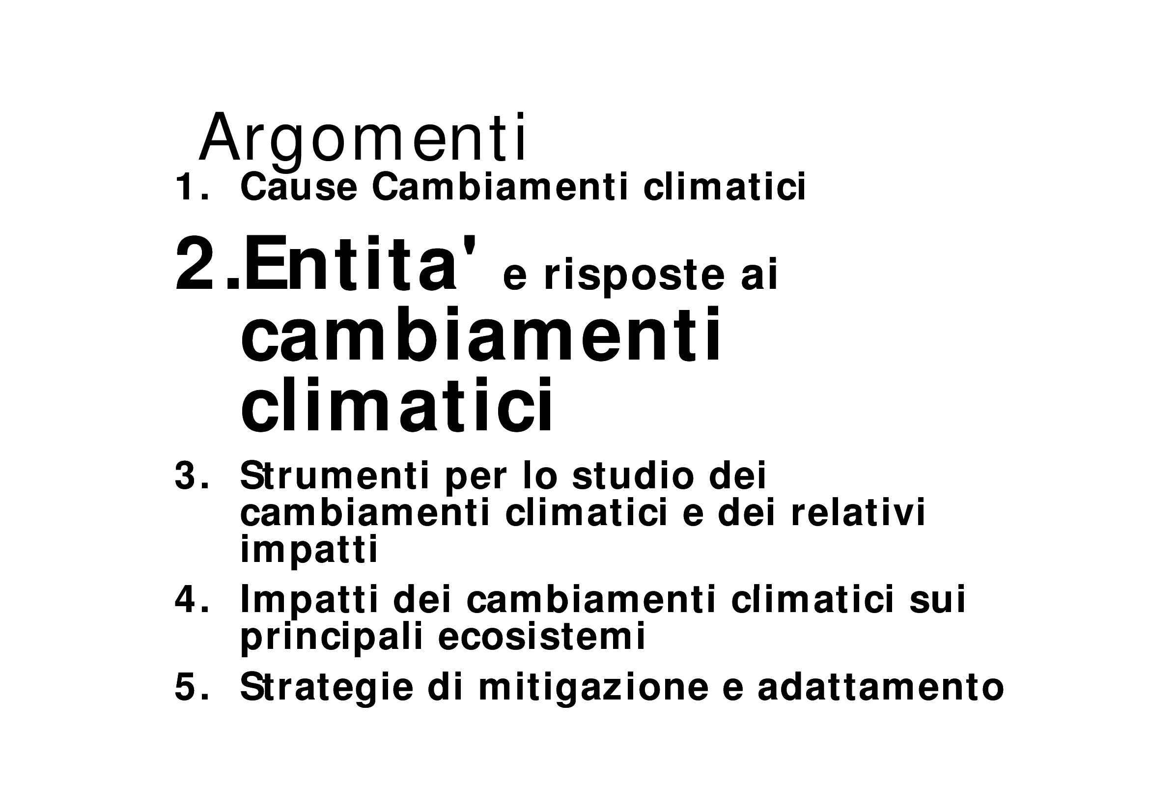 Cambiamenti climatici - Dati e prospettive future