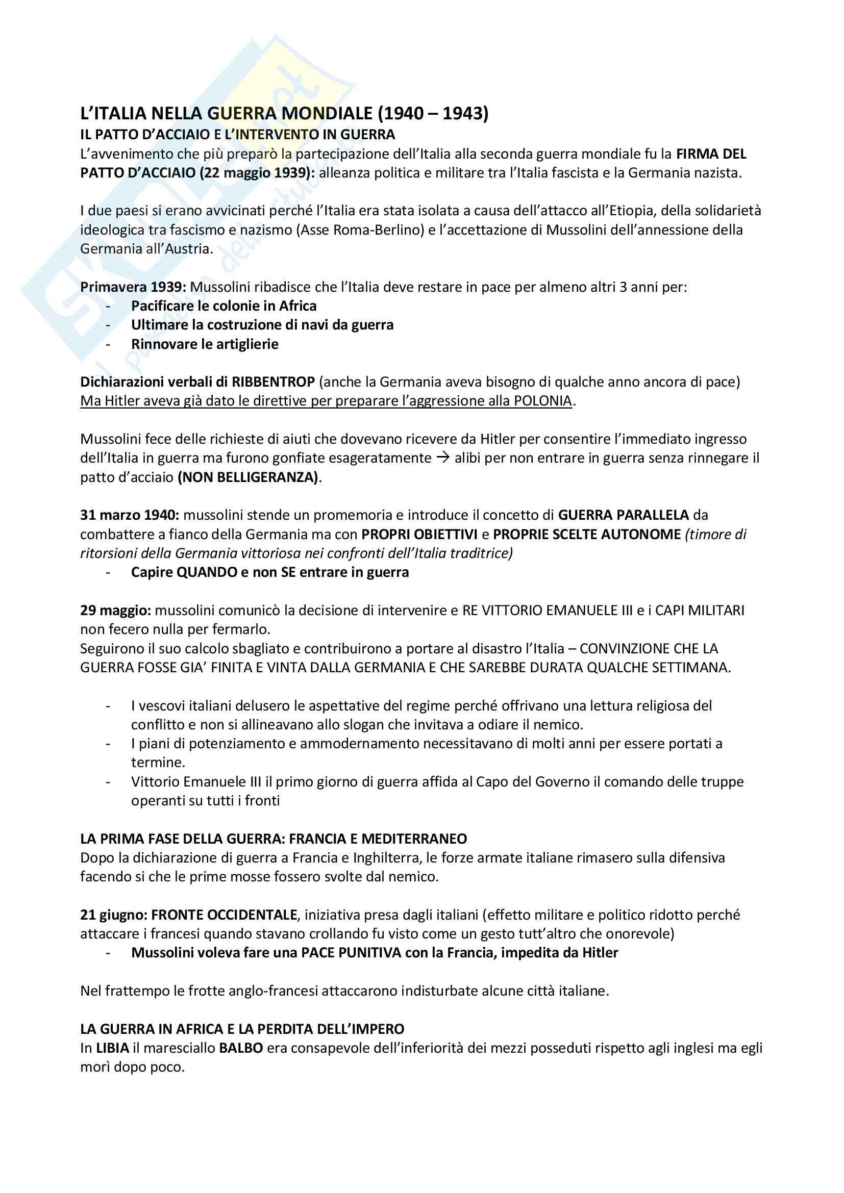 Riassunto esame Storia contemporanea, prof. Formigoni, libro consigliato L'italia contemporanea un profilo storico (1939-2008), Vecchio, Trionfini