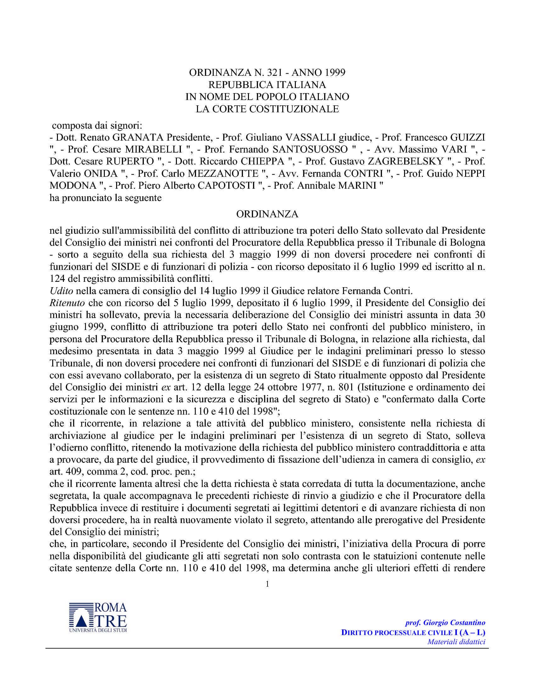 Conflitti attribuzione - C. Cost. ord. 321/99