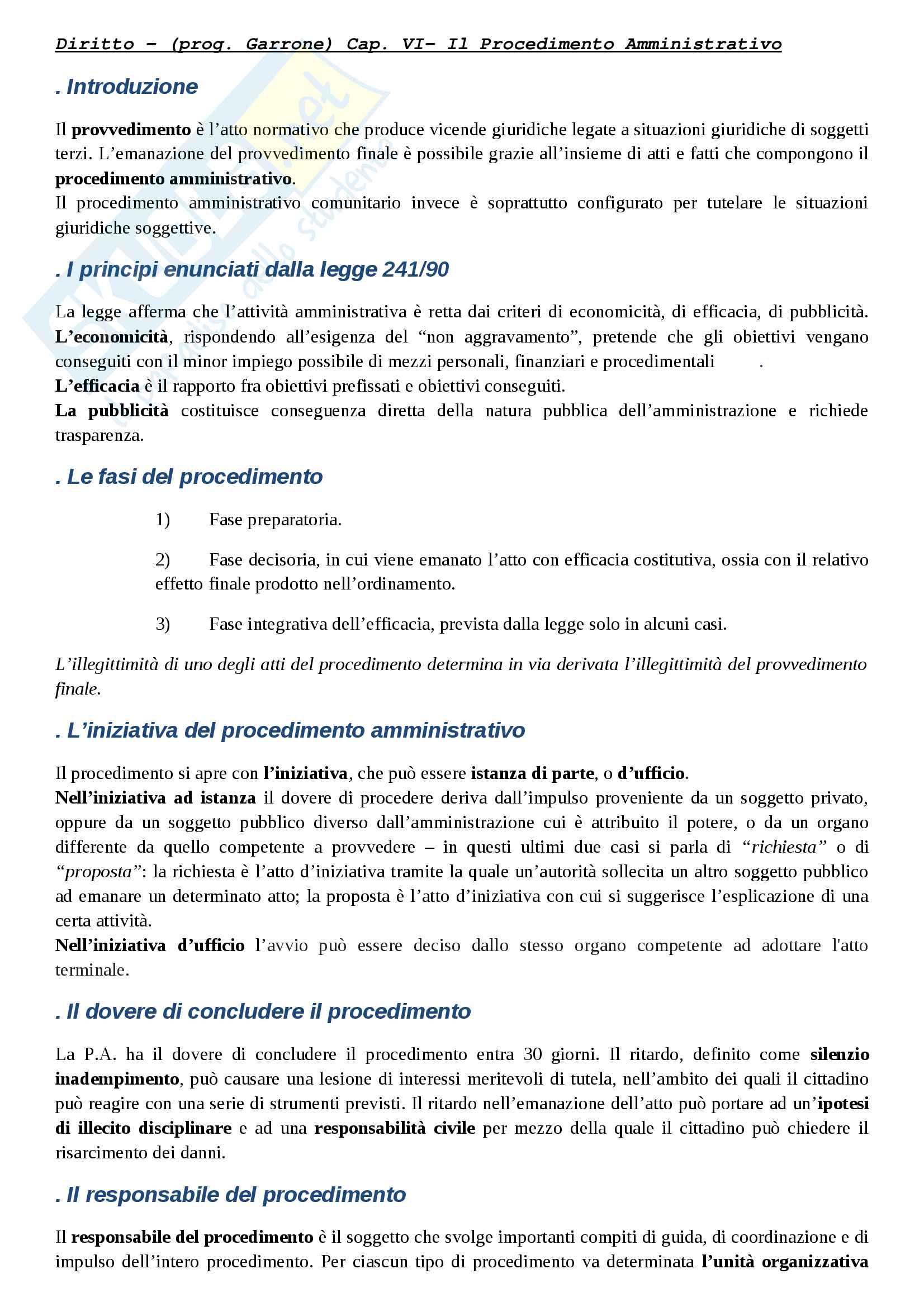 """Riassunto esame diritto amministrativo, docente Giovanni Garrone, libro consigliato """"Compendio di diritto amministrativo"""""""