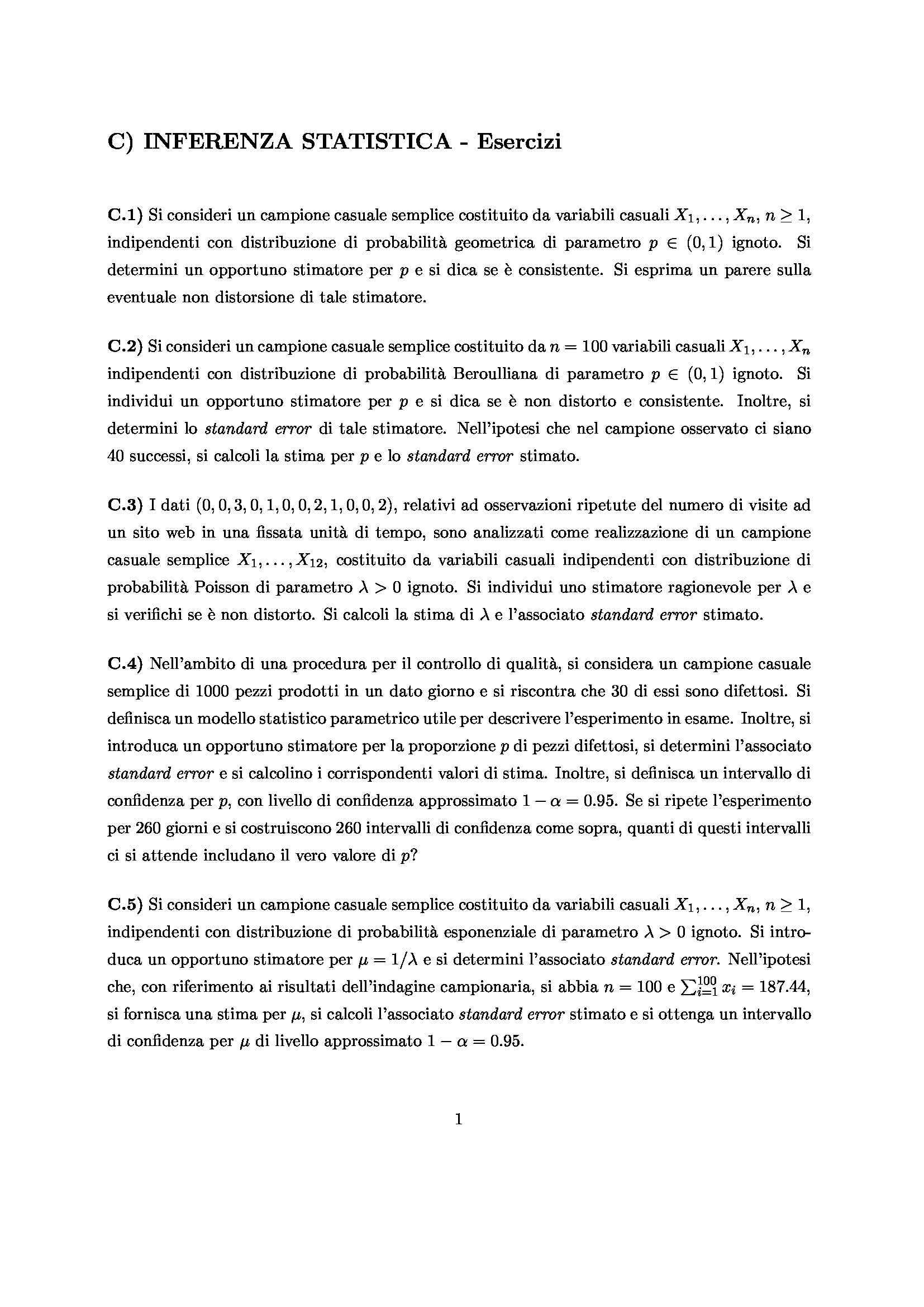 Statistica per la ricerca sperimentale - Inferenza statistica