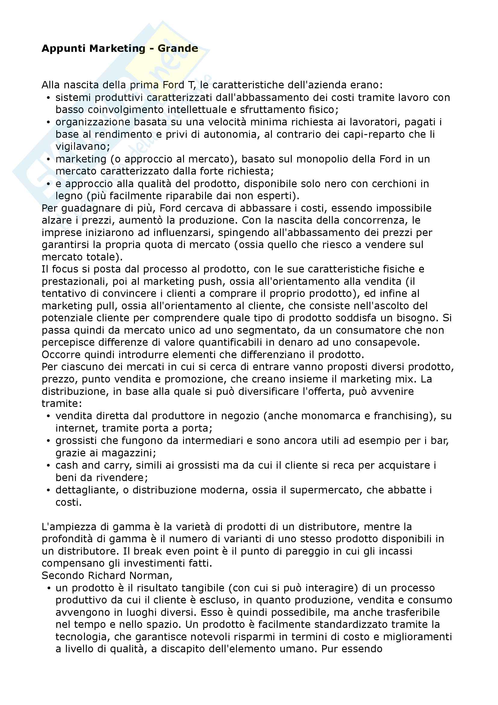 Appunti di Marketing Avanzato (prof Grande)