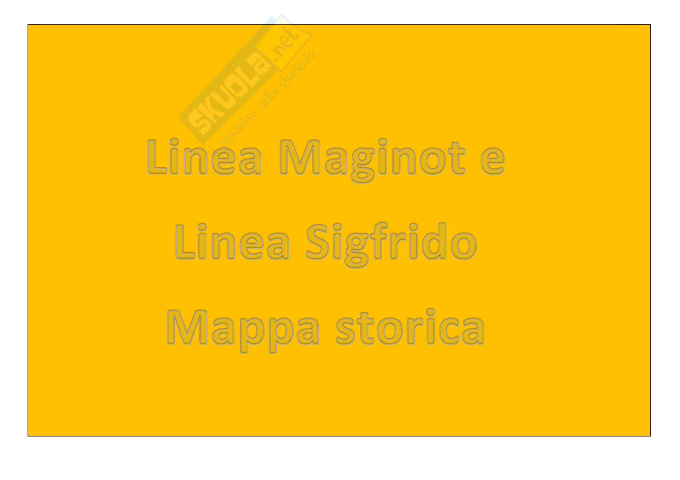 Seconda Guerra Mondiale - Linea Maginot e linea Sigfrido, mappa
