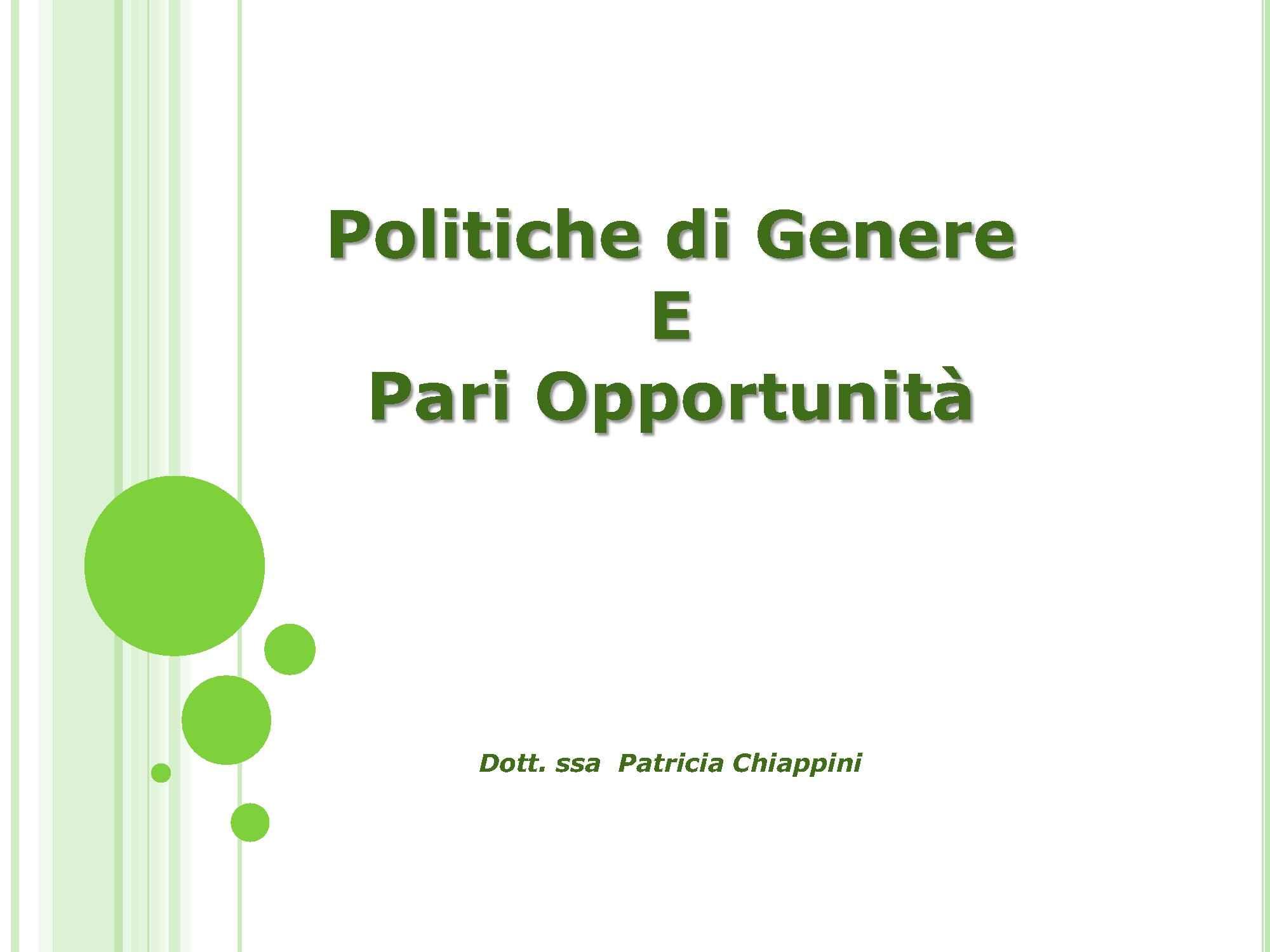 Pari Opportunità - Politiche di Genere