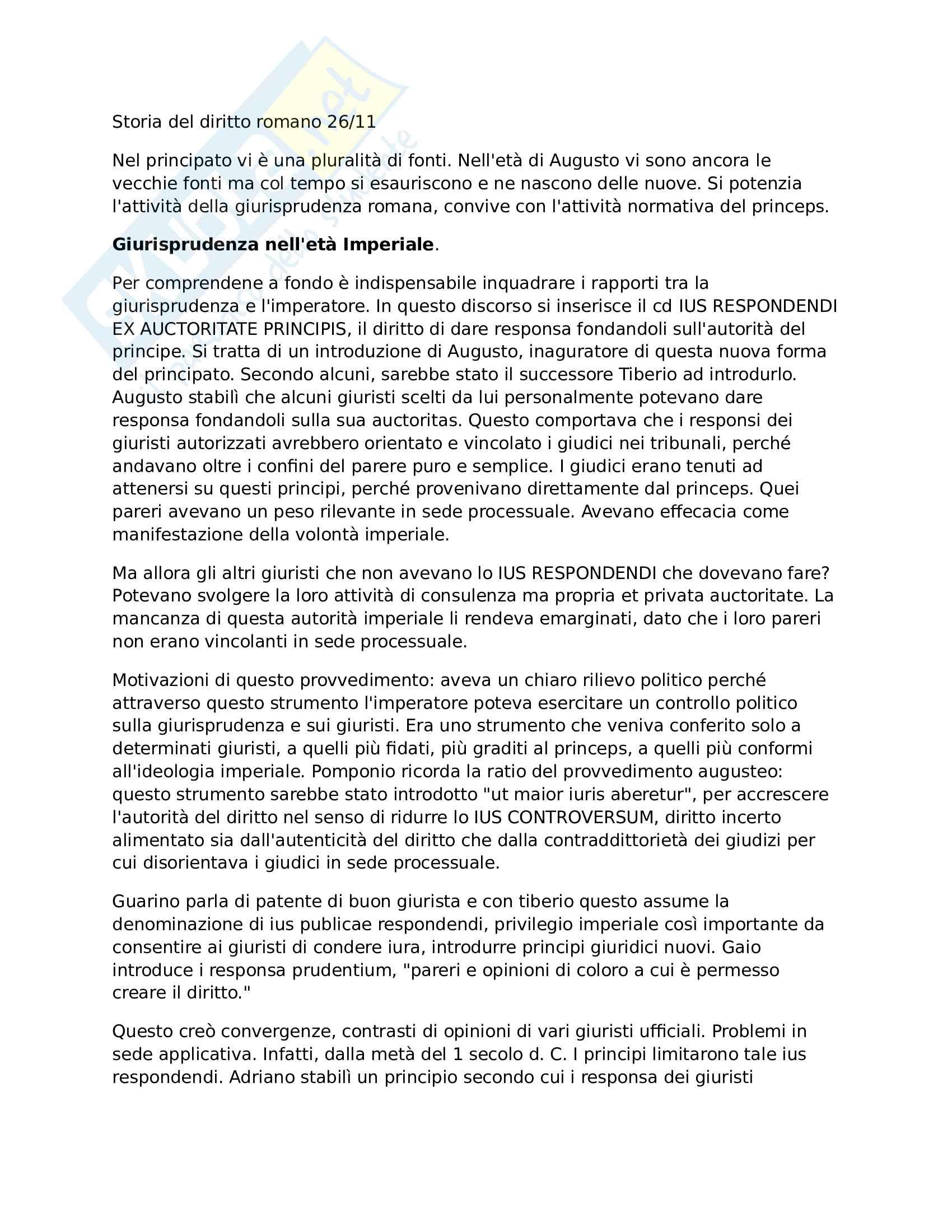 Storia del diritto romano: Giurisprudenza nell'età Imperiale Pag. 1