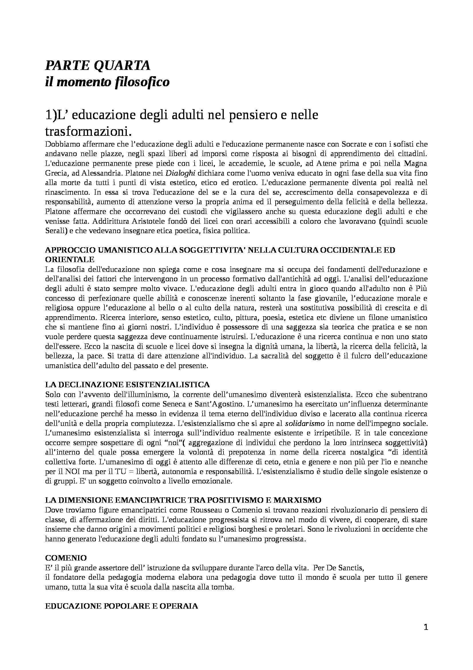 Riassunto esame Educazione degli Adulti, prof. D'Arcangelo, libro consigliato Manuale di Educazione degli Adulti, Demetrio - parte quarta